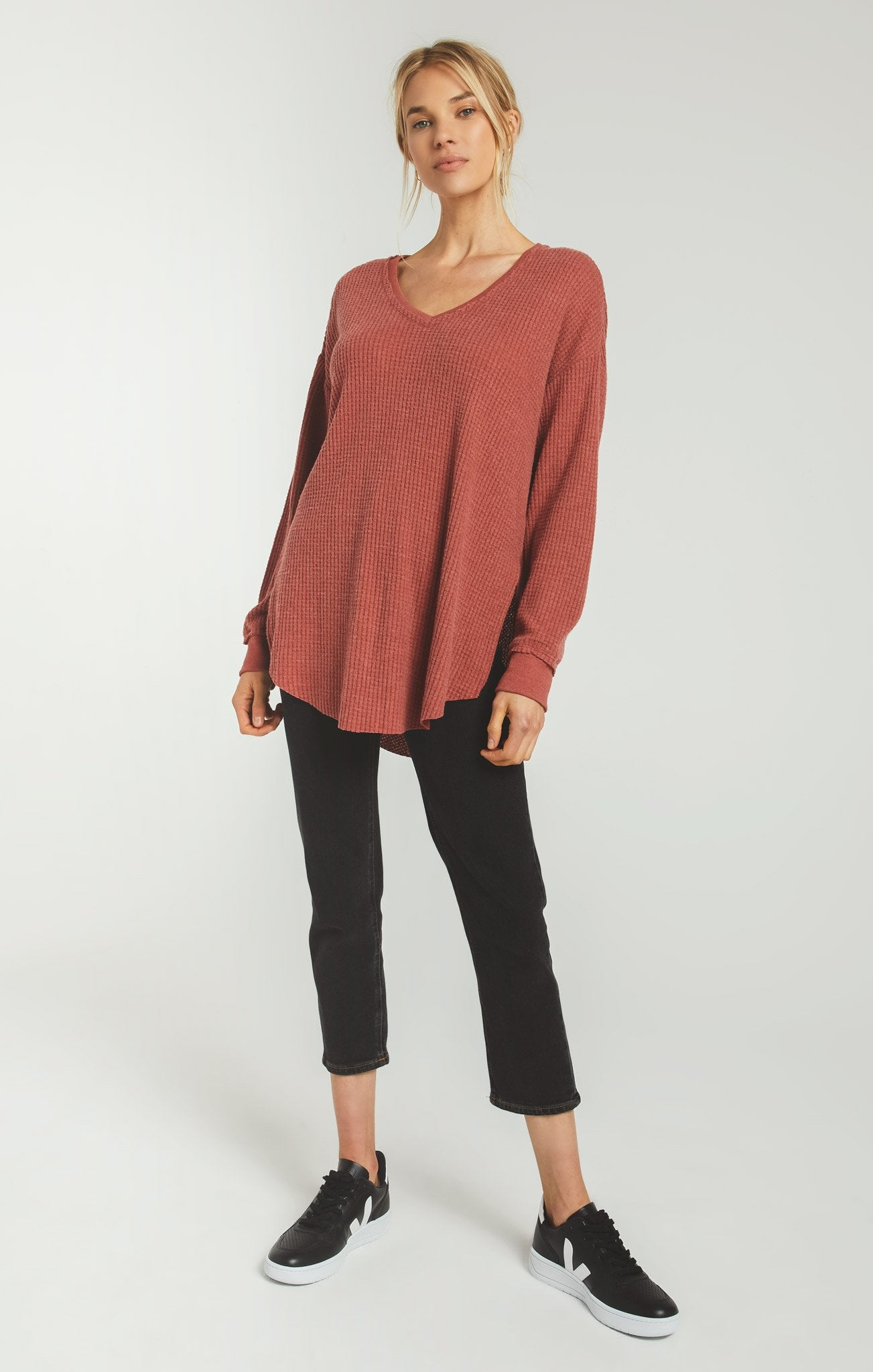 Tops Waffle Thermal Tunic Top Mesa Red
