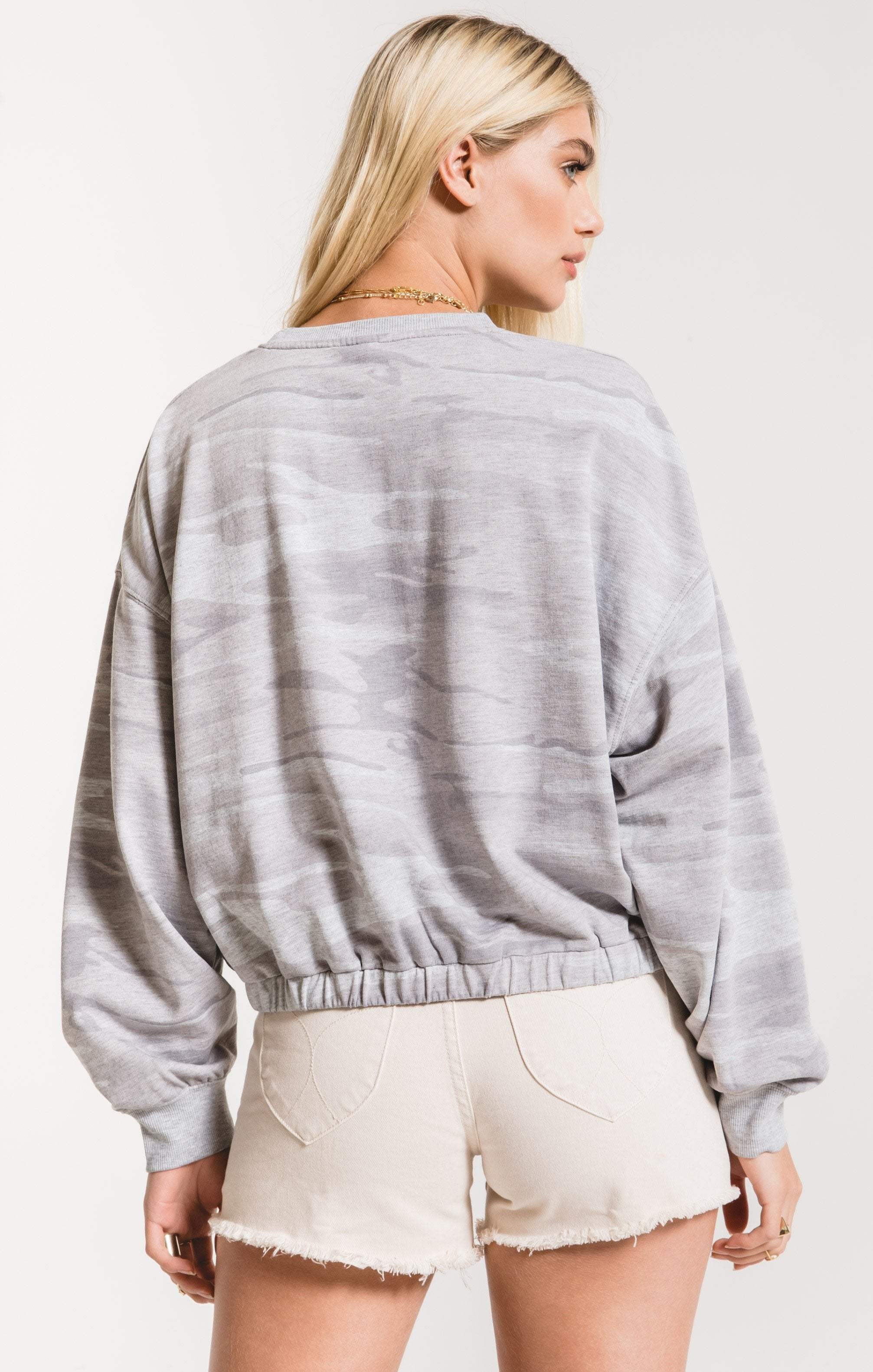 Tops Camo Relaxed Pullover Camo Heather Grey