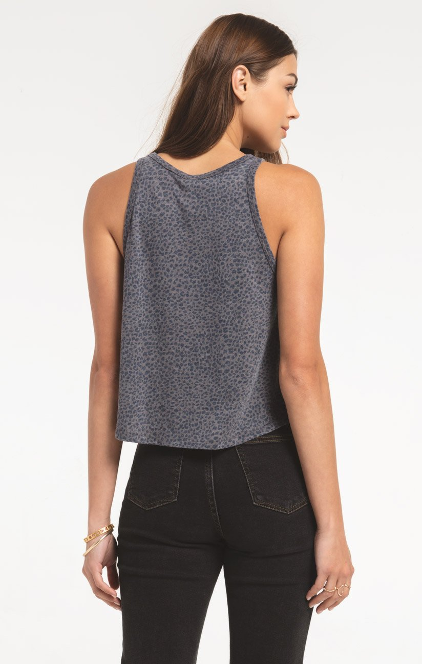 Tops Mini Leopard Swing Tank Charcoal Grey