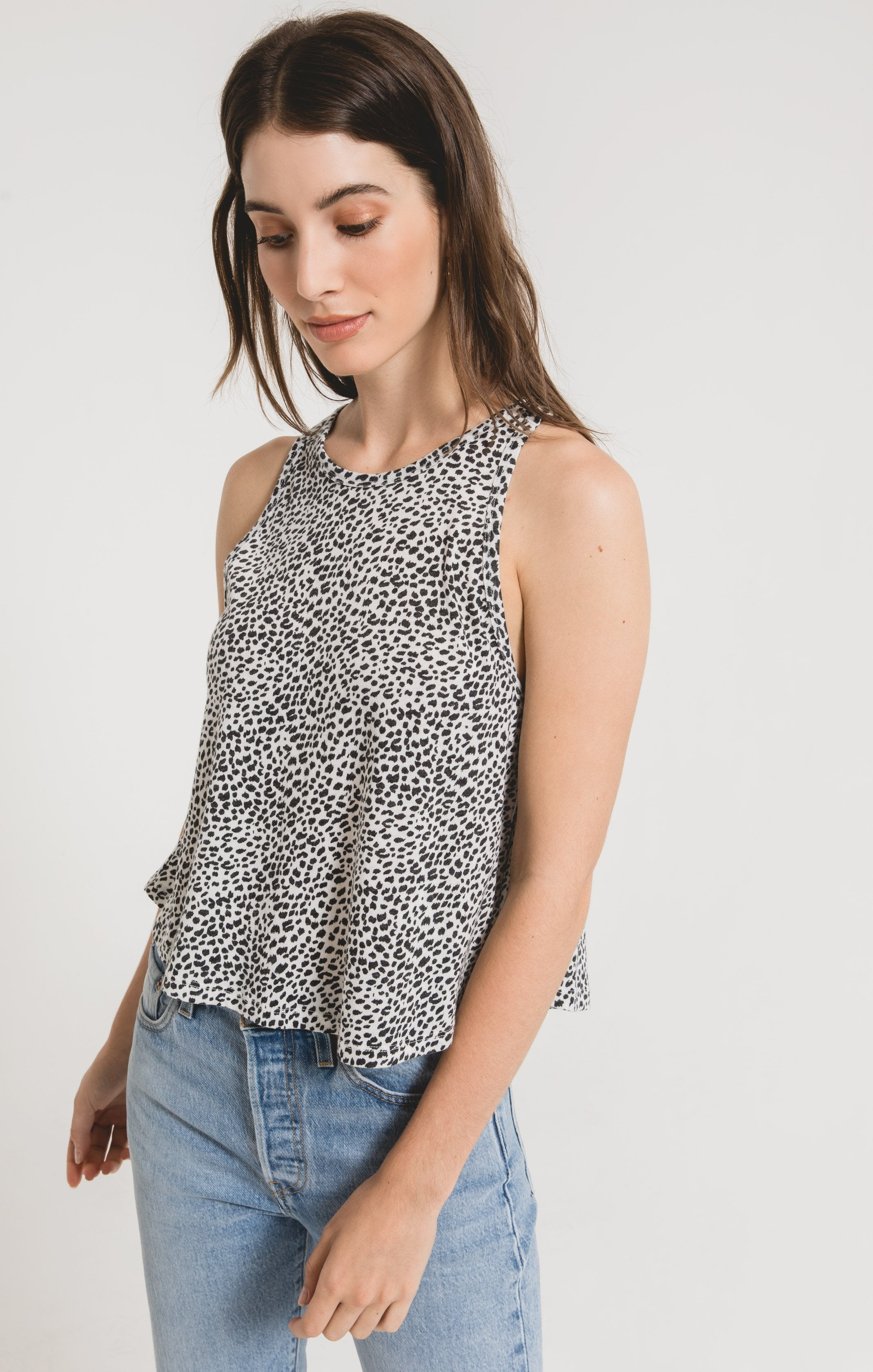 Tops Mini Leopard Swing Tank Off White