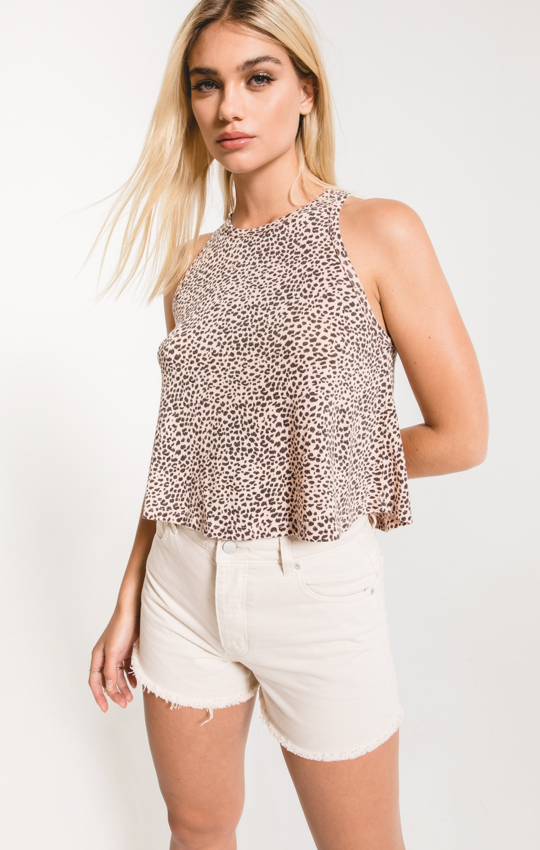 Tops Mini Leopard Swing Tank Pale Blush