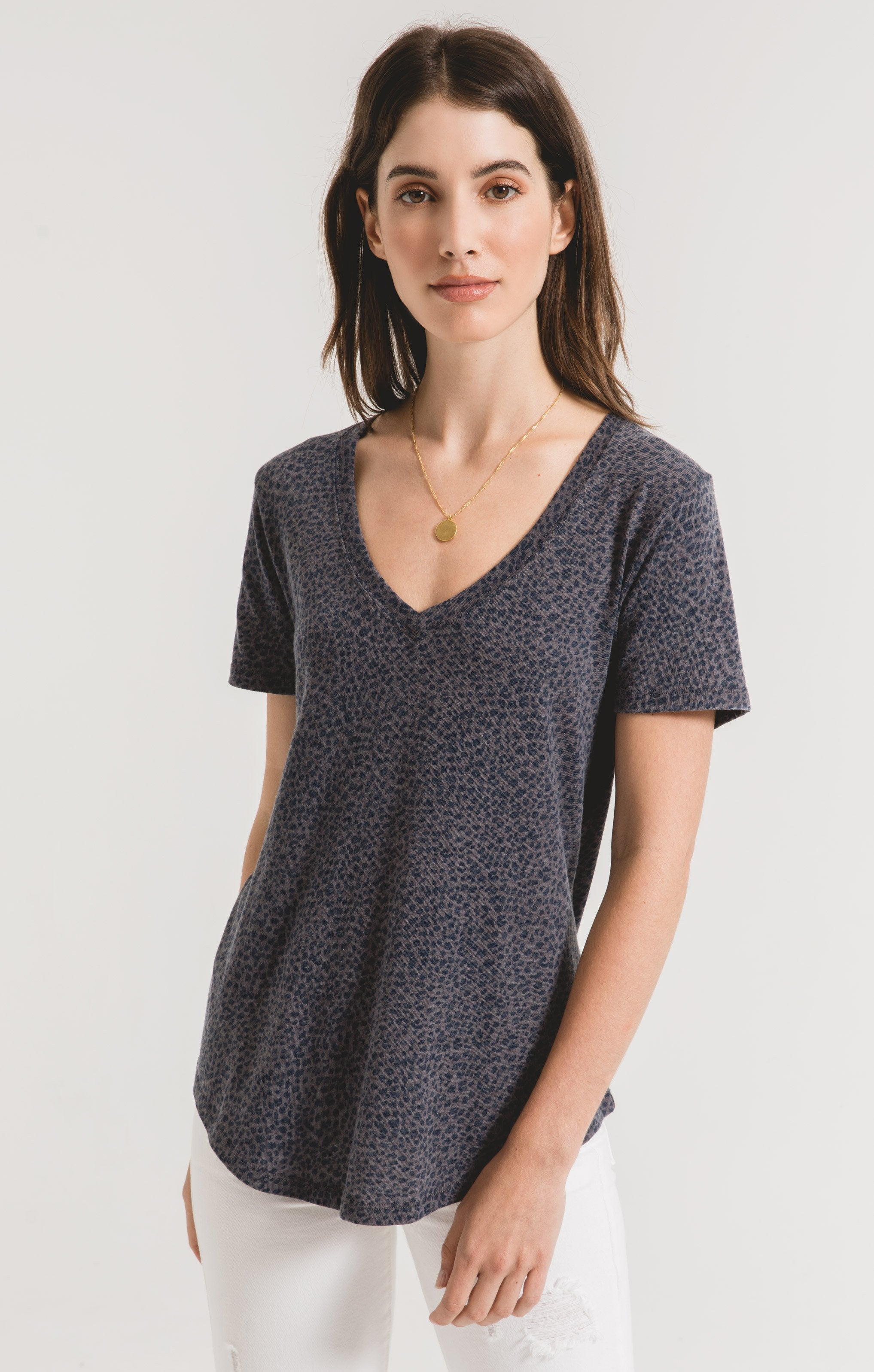 Tops Mini Leopard V-Neck Tee Charcoal Grey