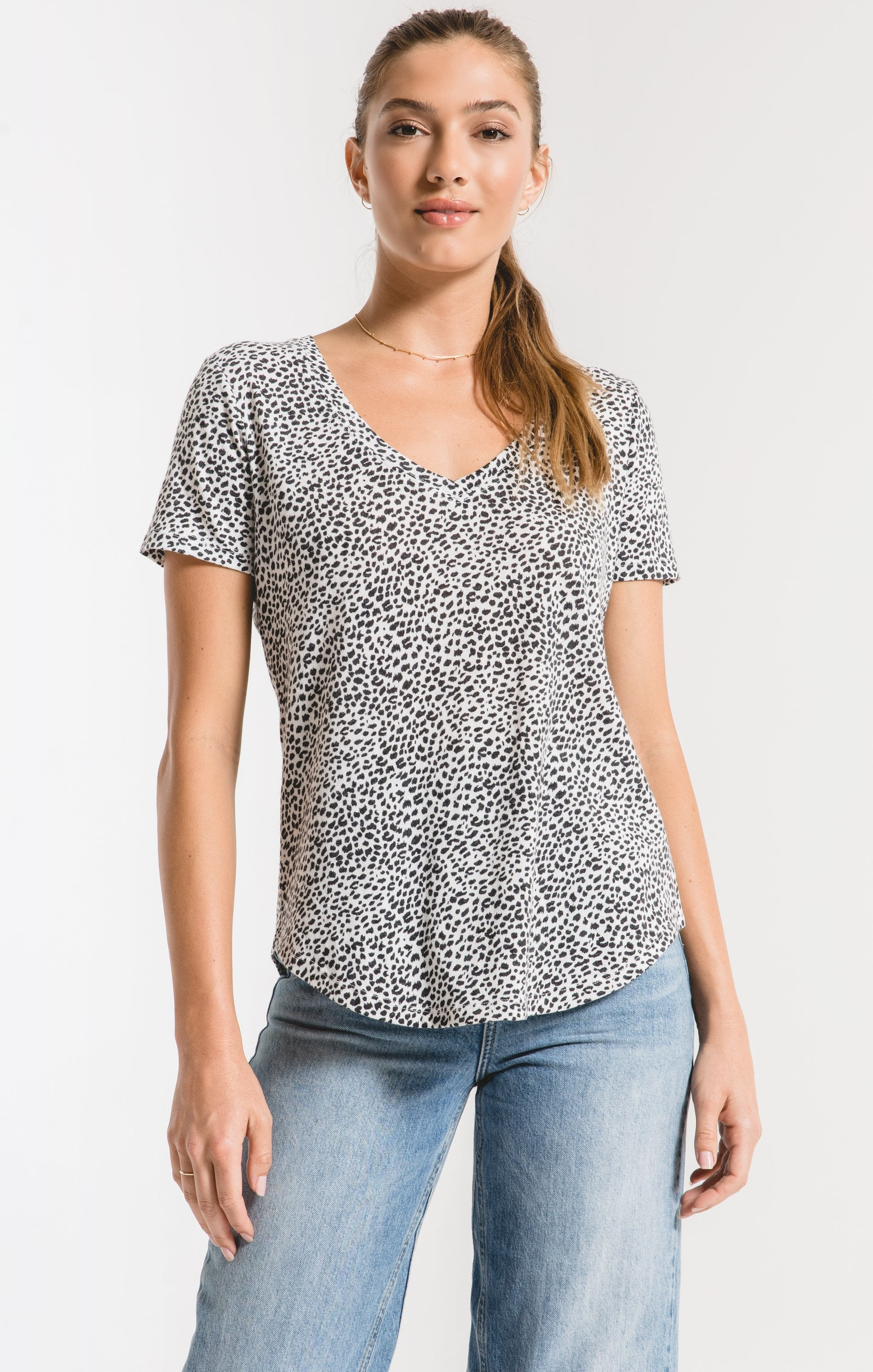 Tops Mini Leopard V-Neck Tee Off White