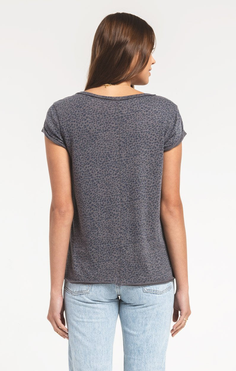 Tops Mini Leopard Crew Tee Charcoal Grey