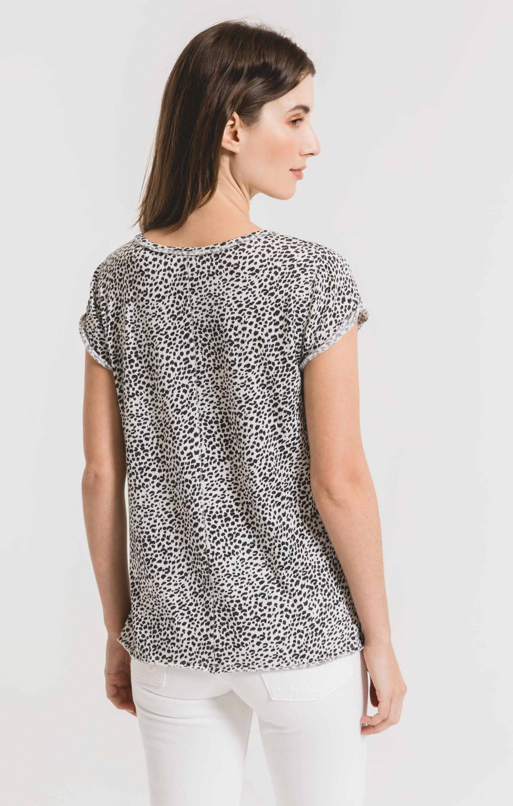 Tops Mini Leopard Crew Tee Off White