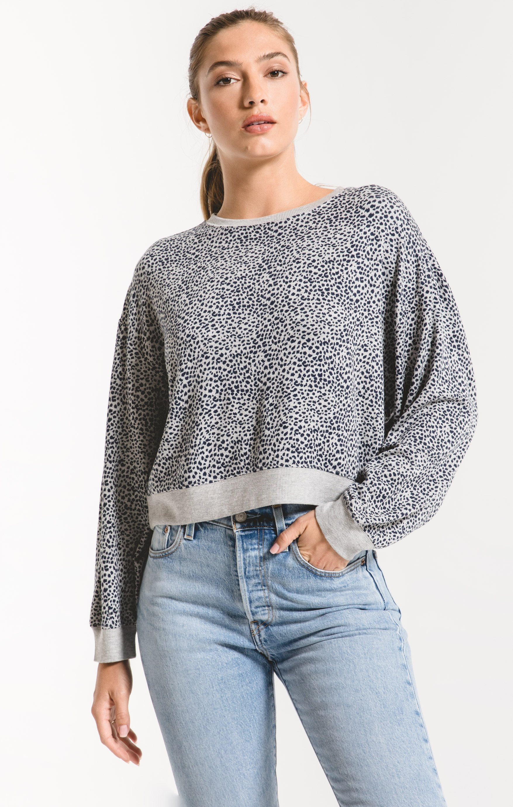Tops Mini Leopard Long Sleeve Pullover Heather Grey
