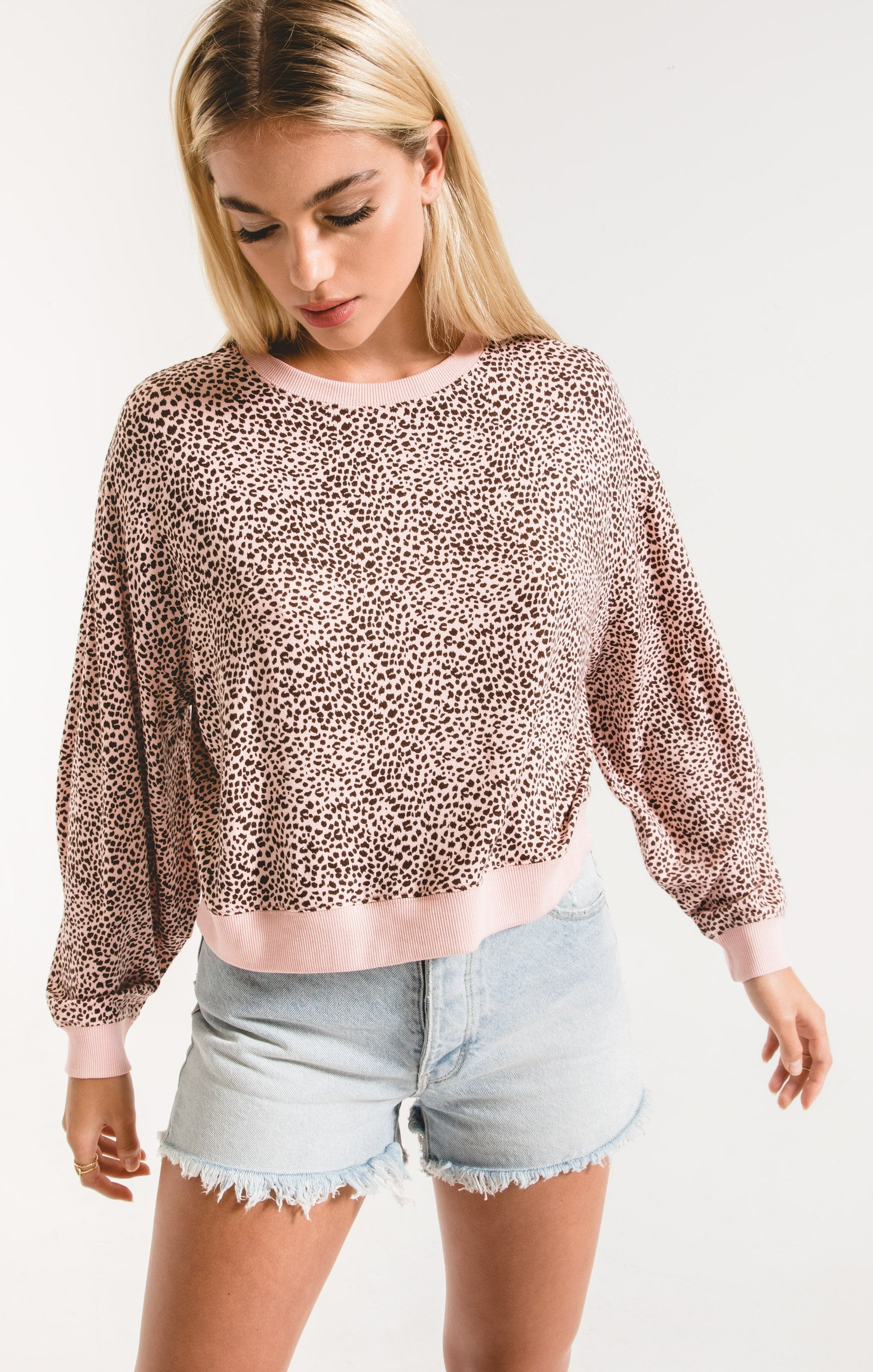Tops Mini Leopard Long Sleeve Pullover Pale Blush