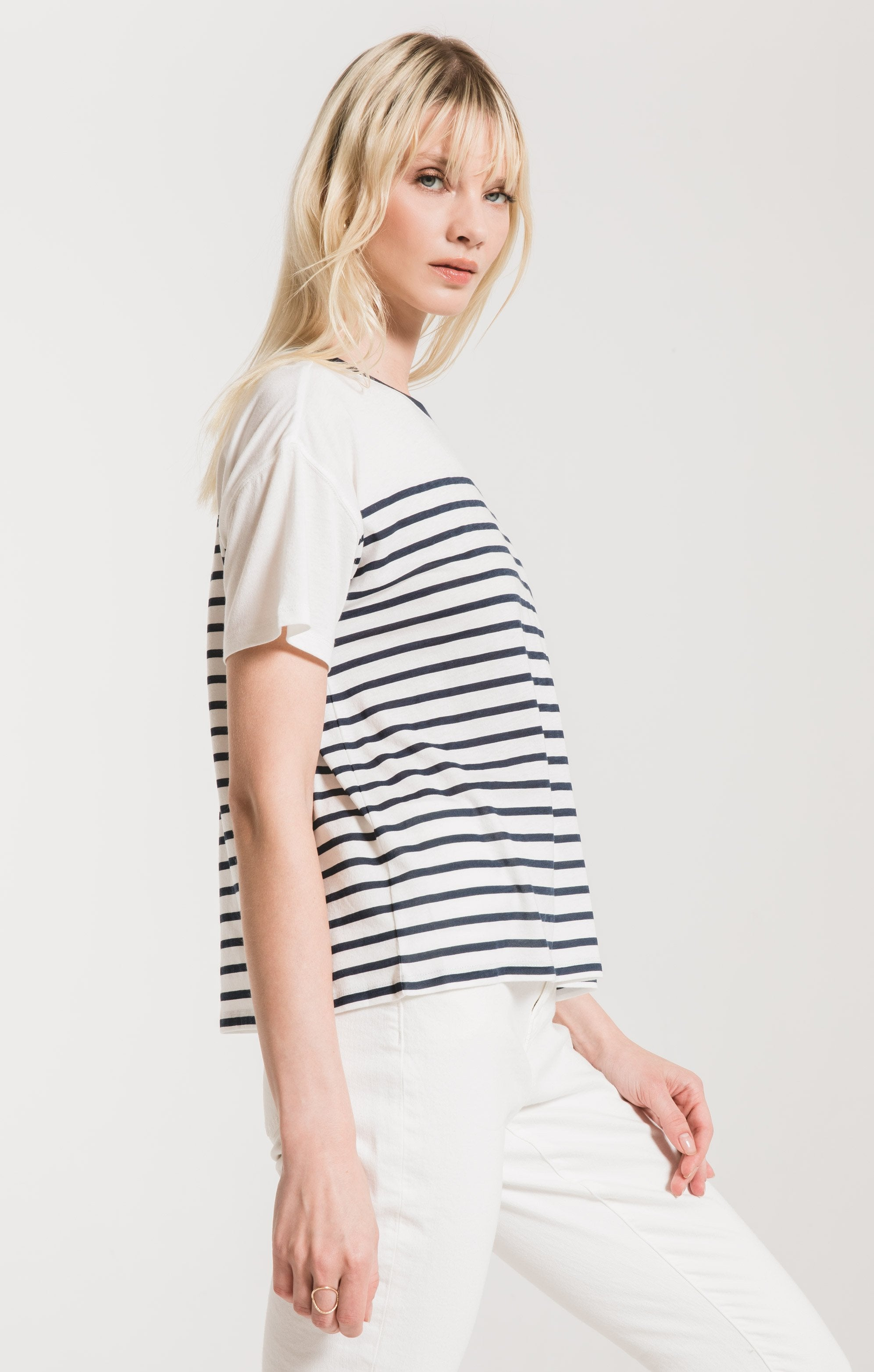 Tops Fiore Stripe Tee Black Iris/Desert White