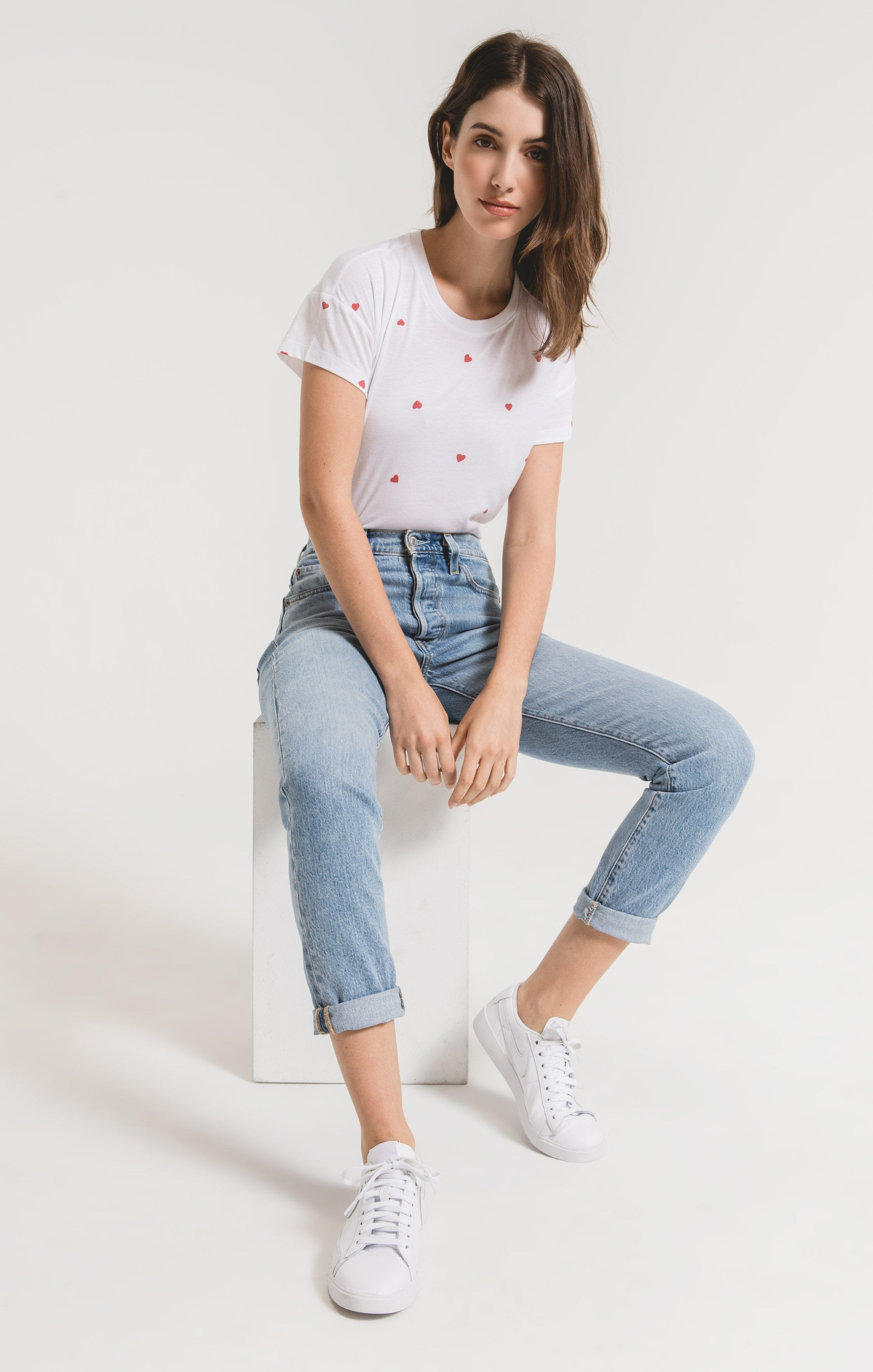 Tops Hearts Modern Crew Tee White