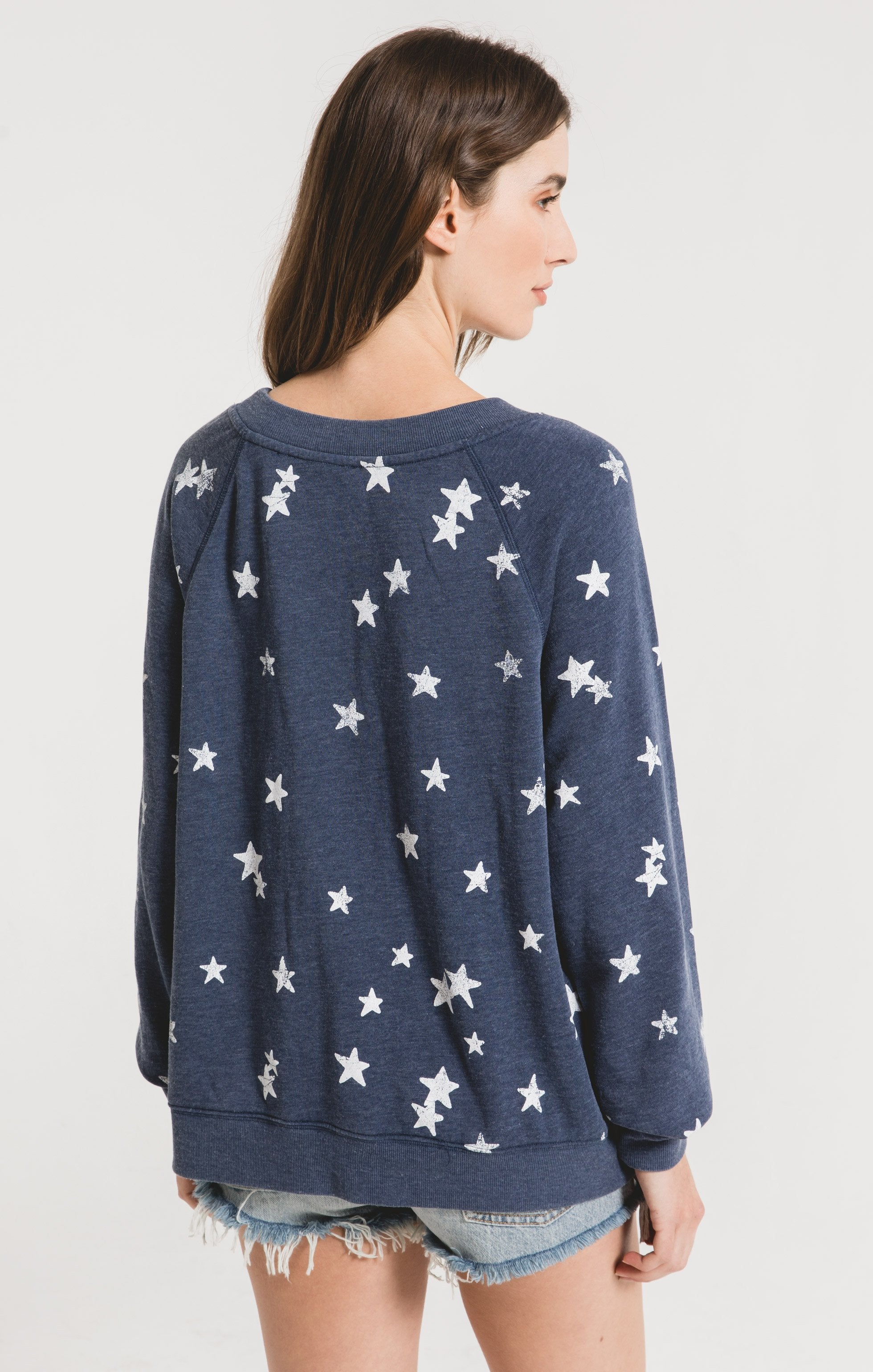 Tops Distressed Star Pullover Black Iris Combo