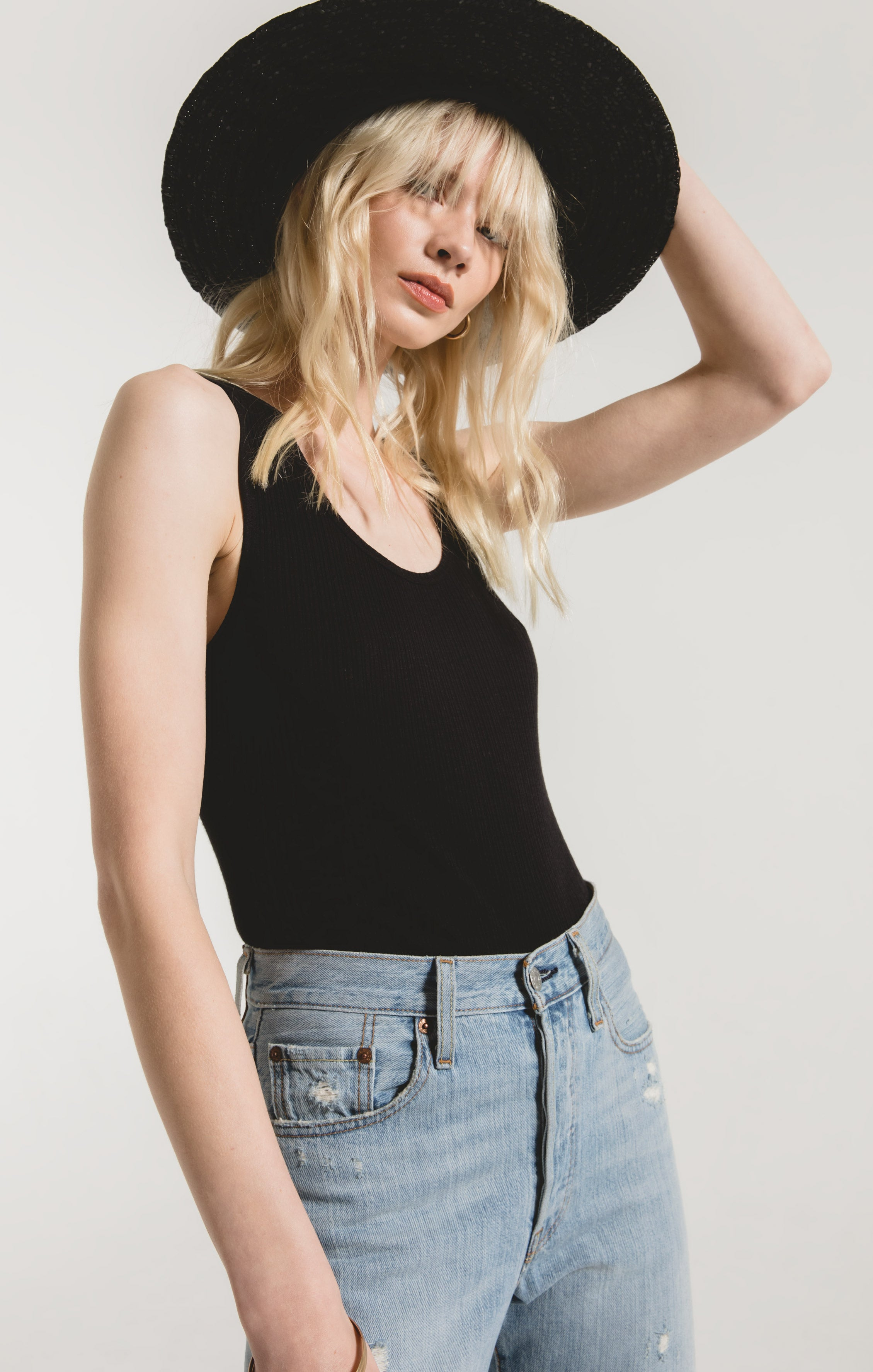 Tops Textured Rib Fitted Tank Black