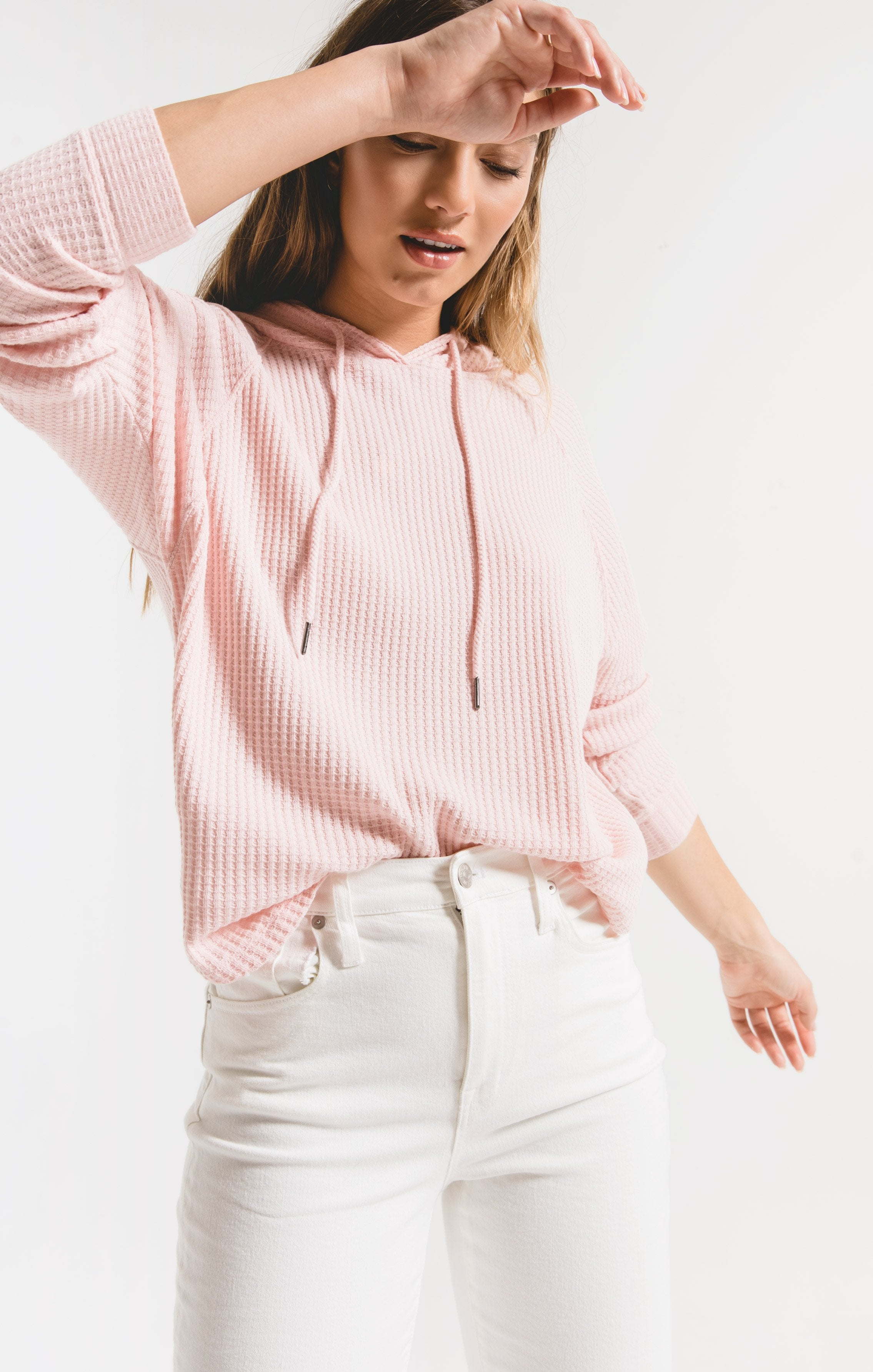 Tops Waffle Thermal Dolman Hoodie Pale Blush