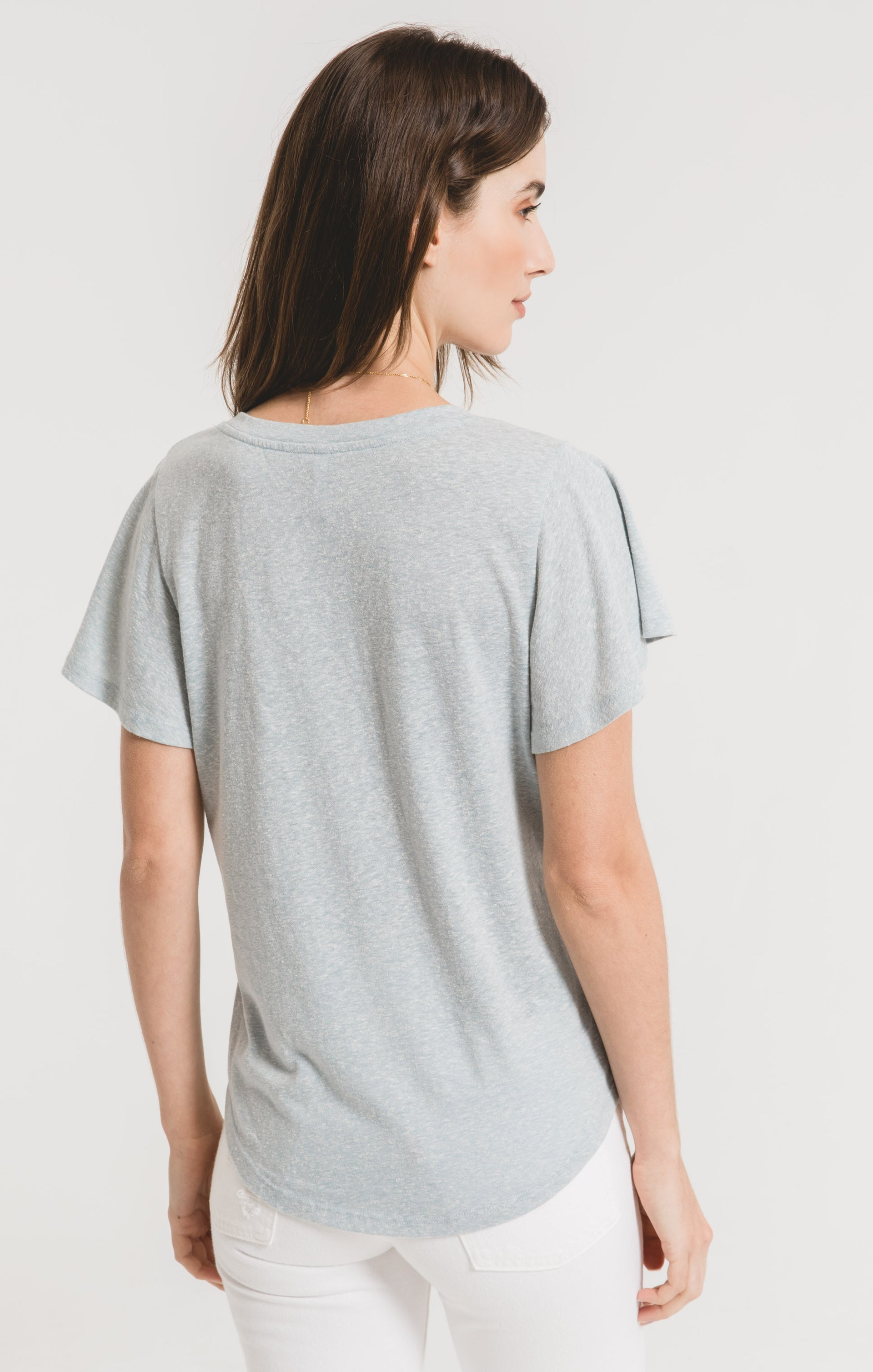 Tops Triblend Flutter V-Neck Tee Sandwashed Blue