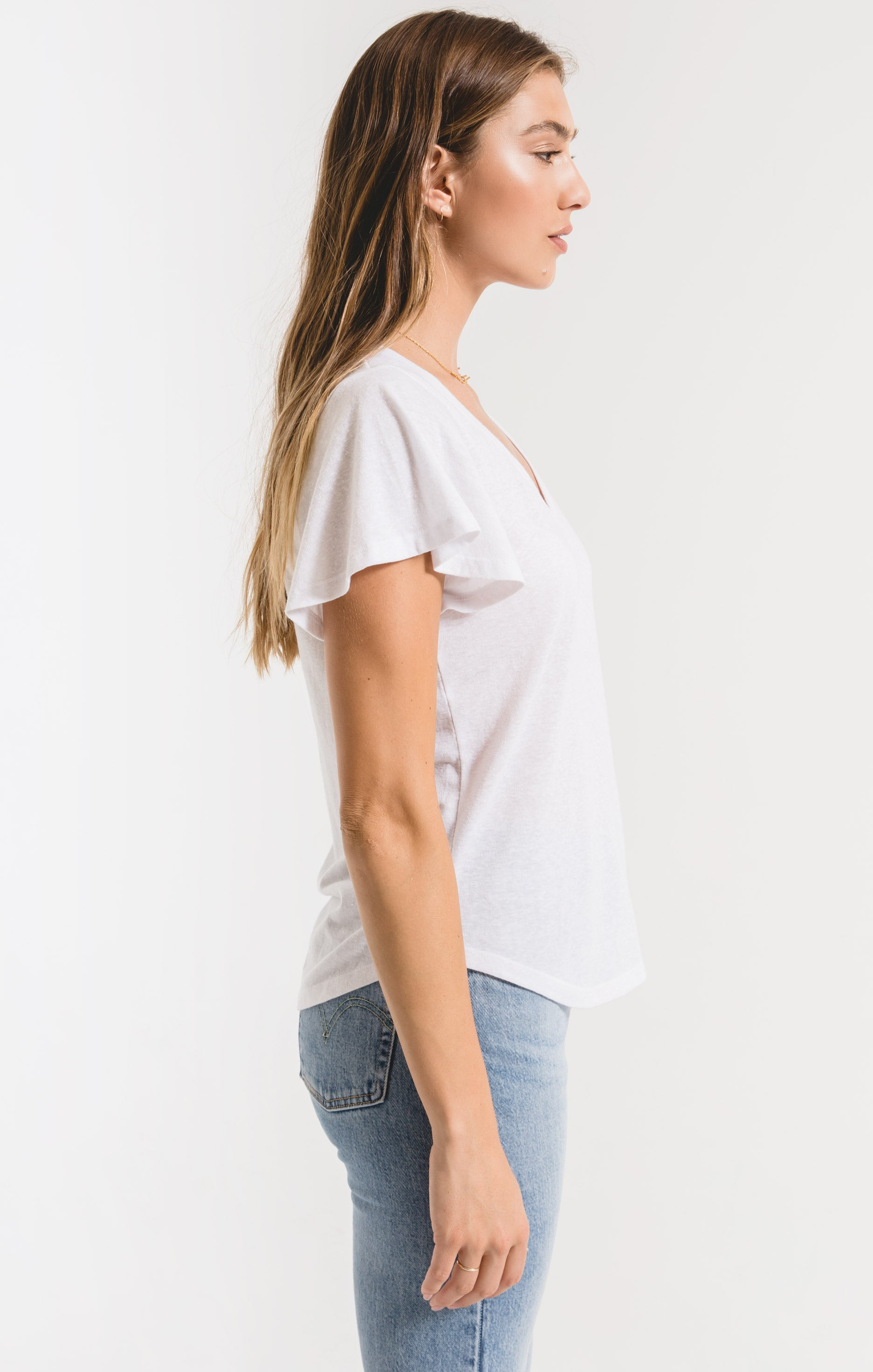 Tops Triblend Flutter V-Neck Tee White