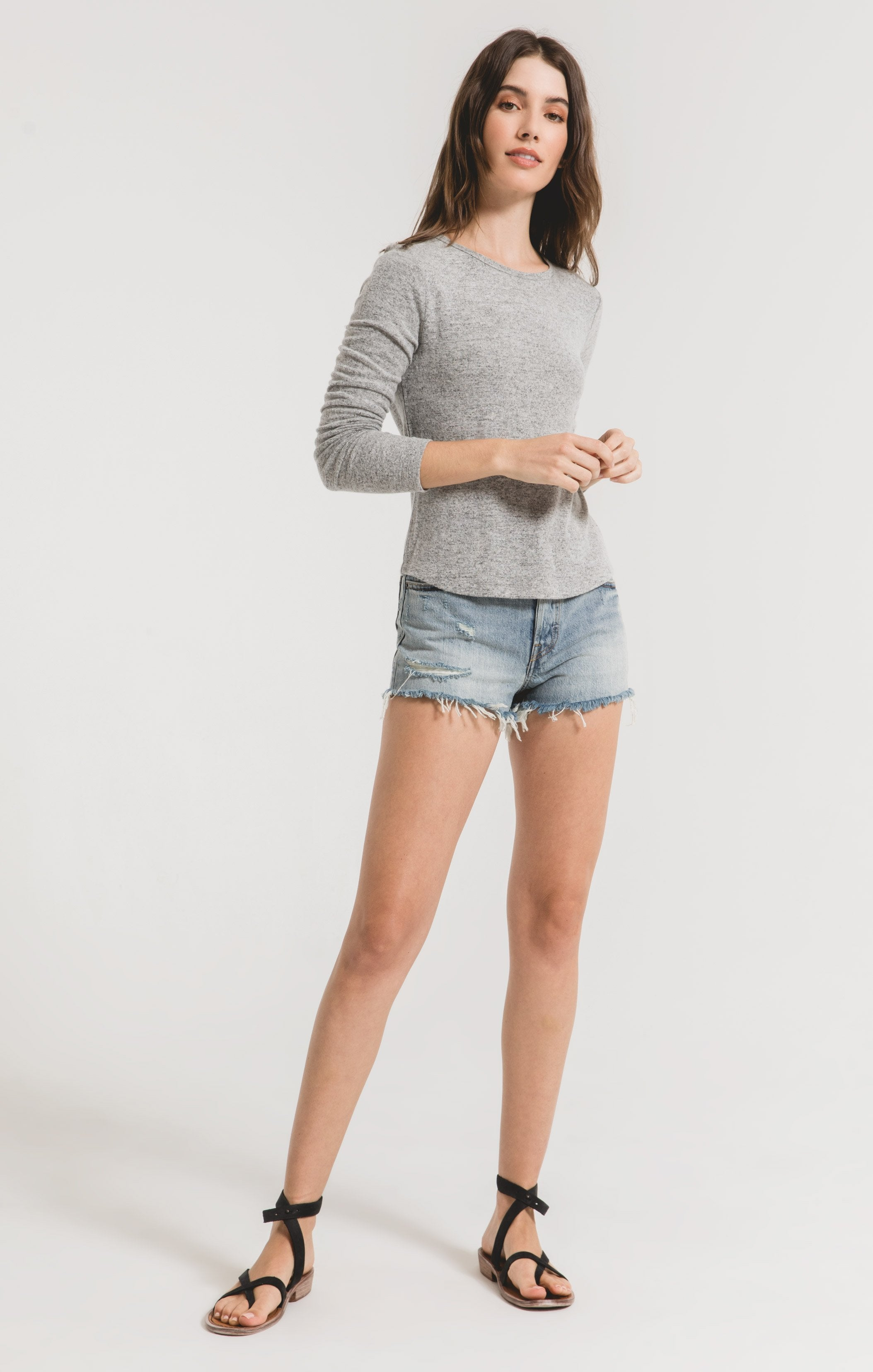 Tops Marled Long Sleeve Fitted Top Heather Grey