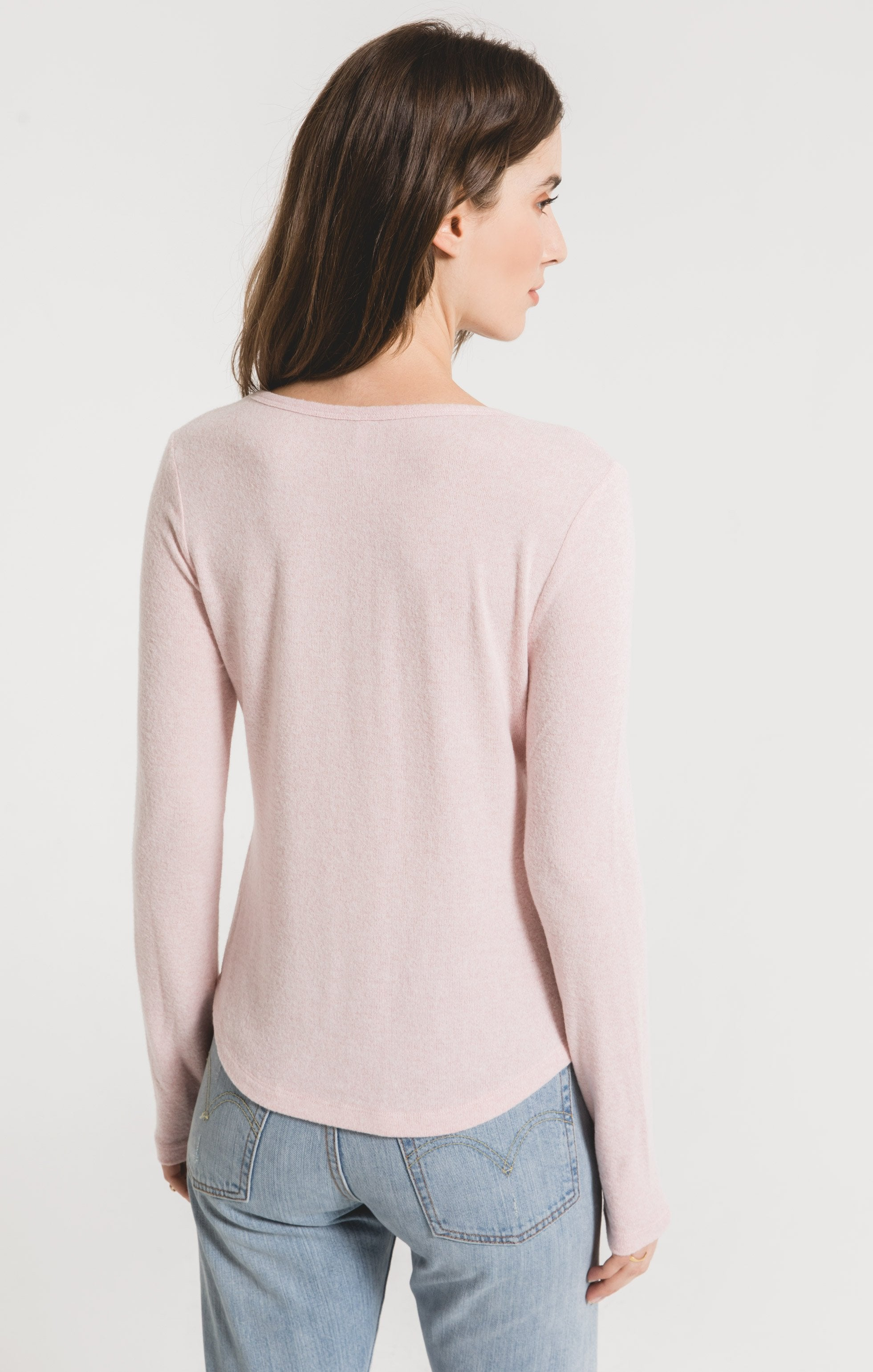 Tops Marled Long Sleeve Fitted Top Pale Blush/Ivory