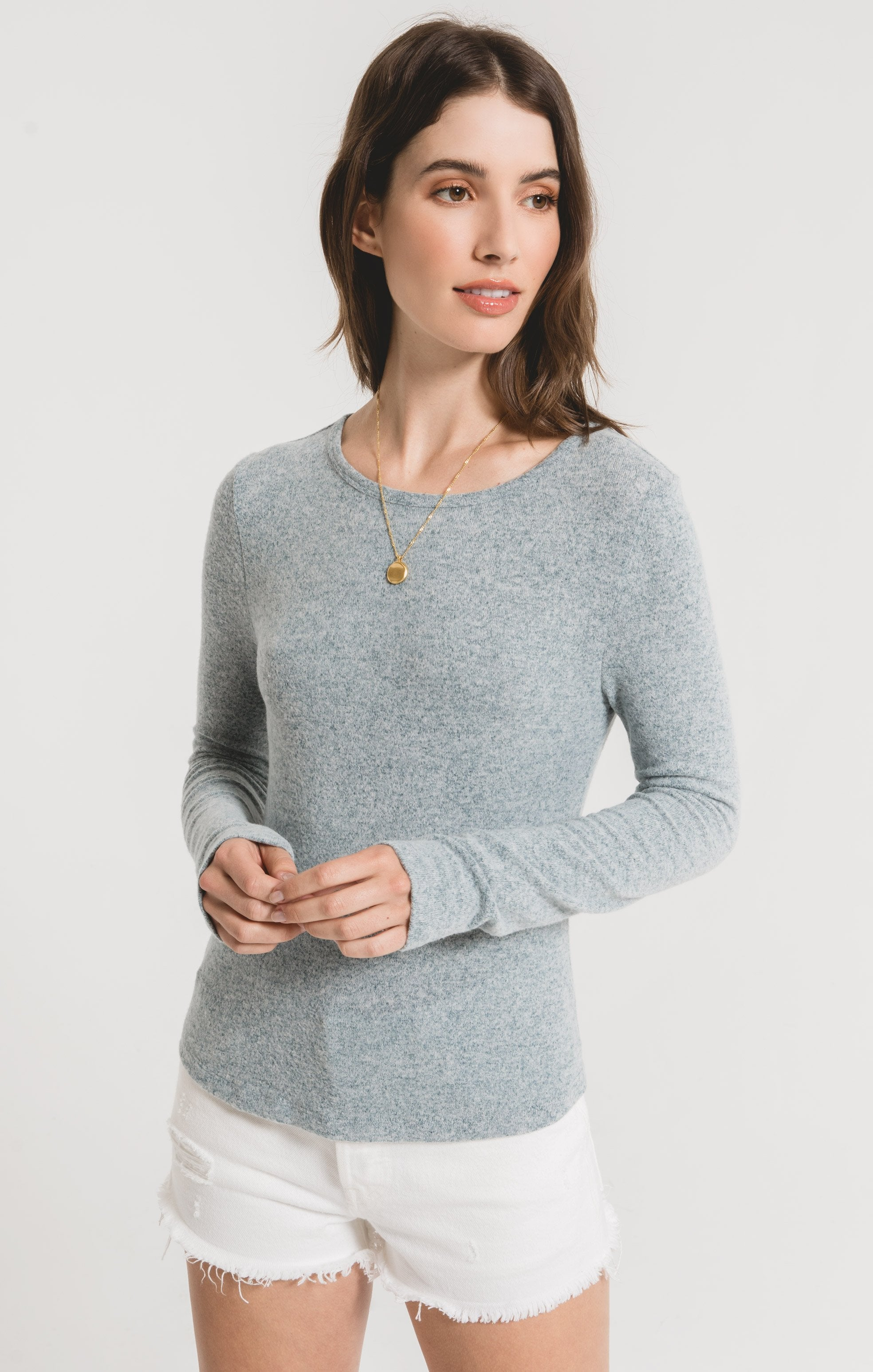 Tops Marled Long Sleeve Fitted Top Storm Blue/Ivory