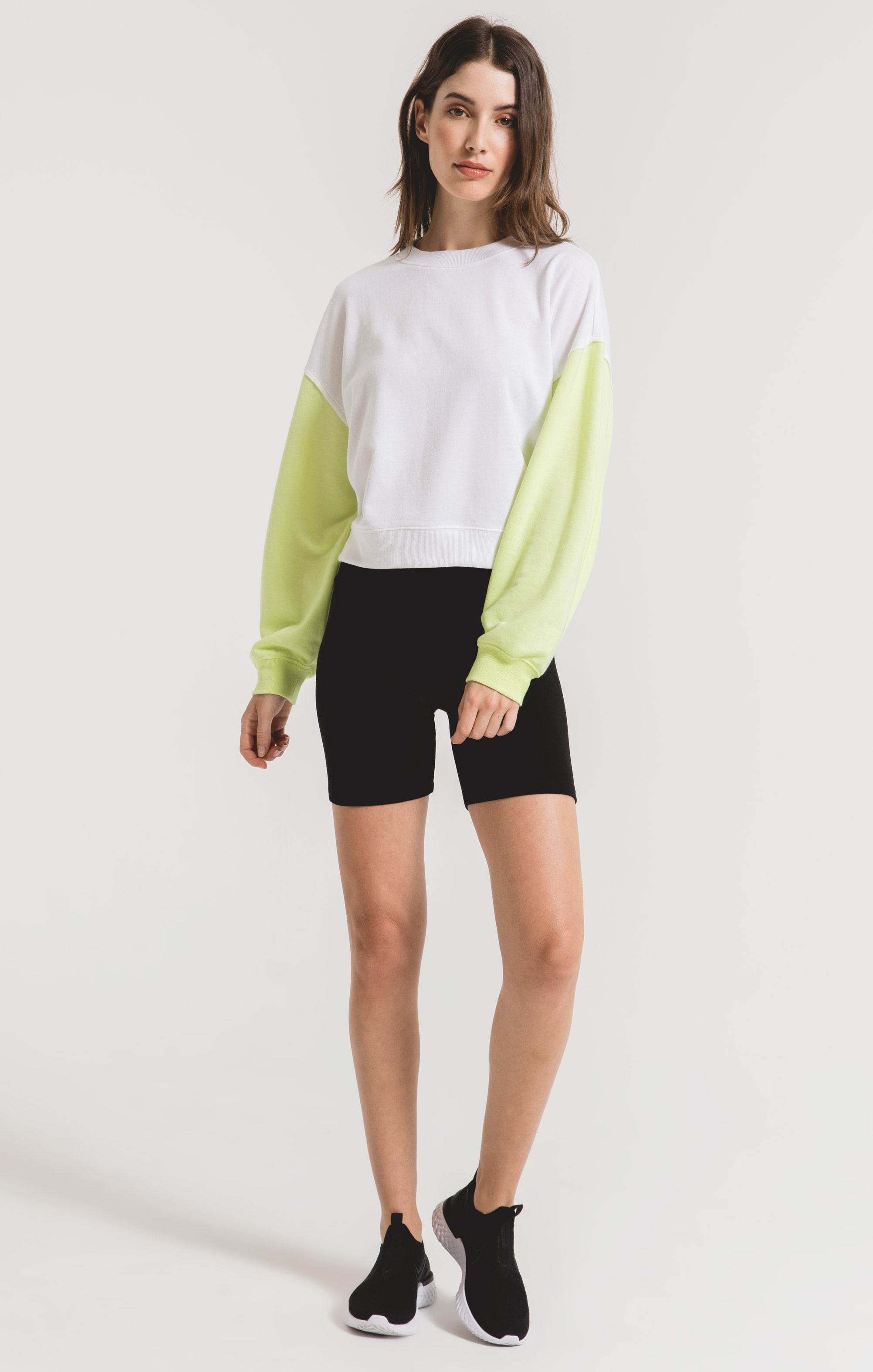 Tops Colorblock Neon Sleeve Sweatshirt Neon Lime