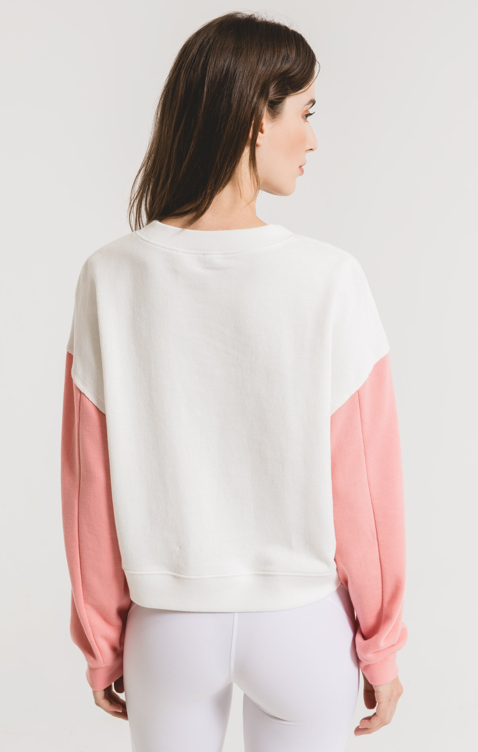 Tops Colorblock Neon Sleeve Sweatshirt Coral
