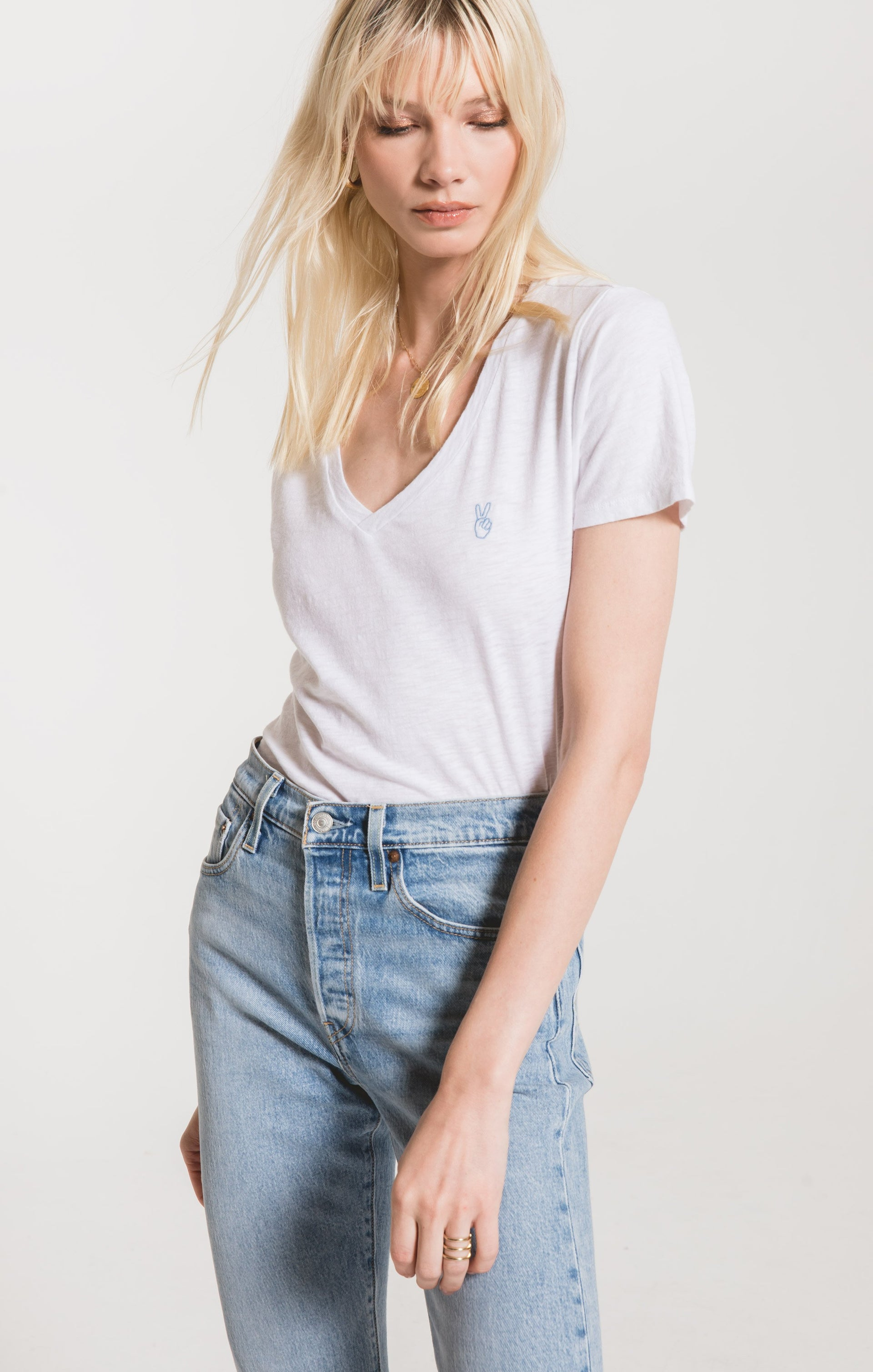 Tops Peace Out V-Neck Tee White