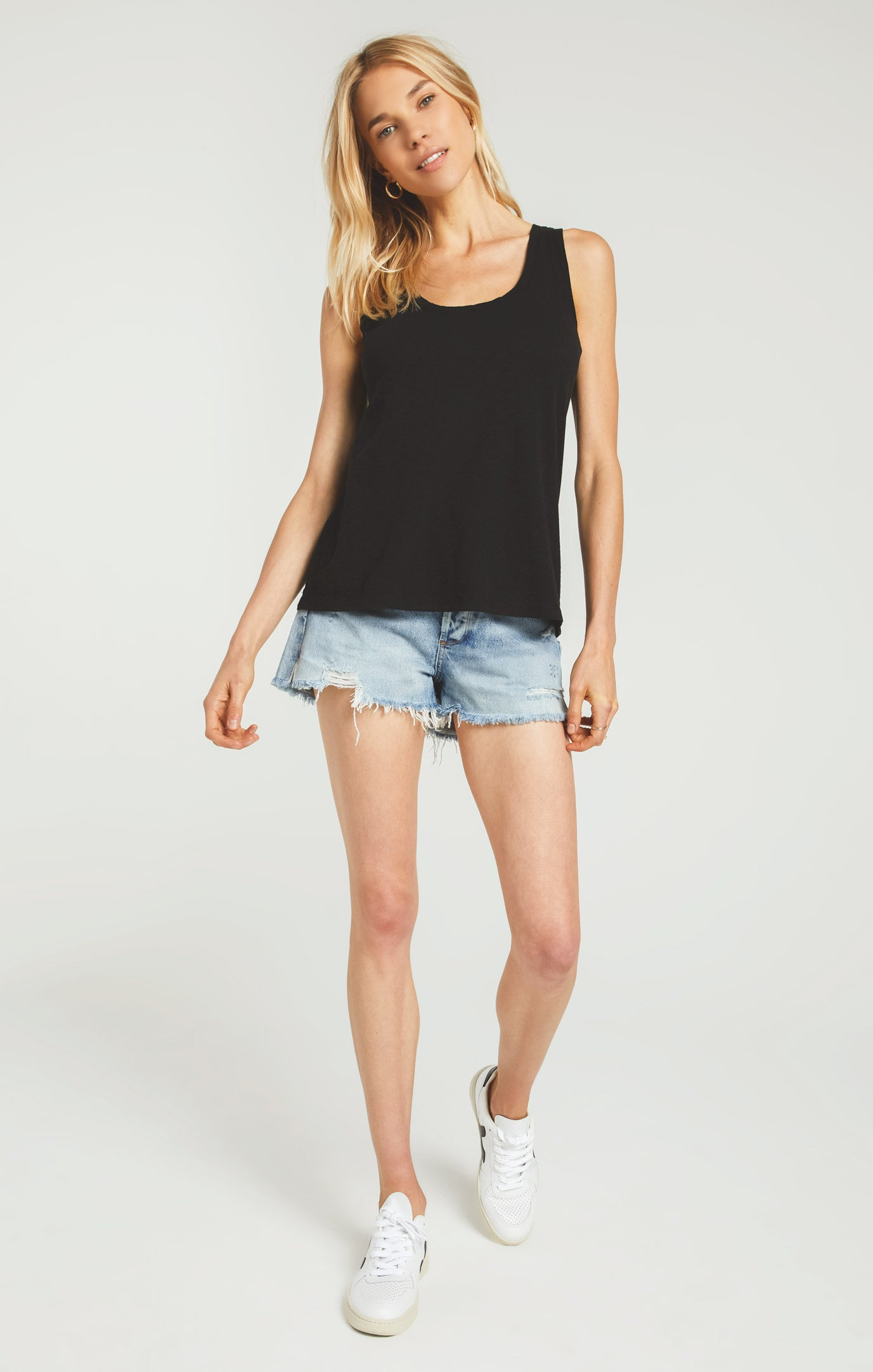 Tops Cotton Slub Scoop Tank Black
