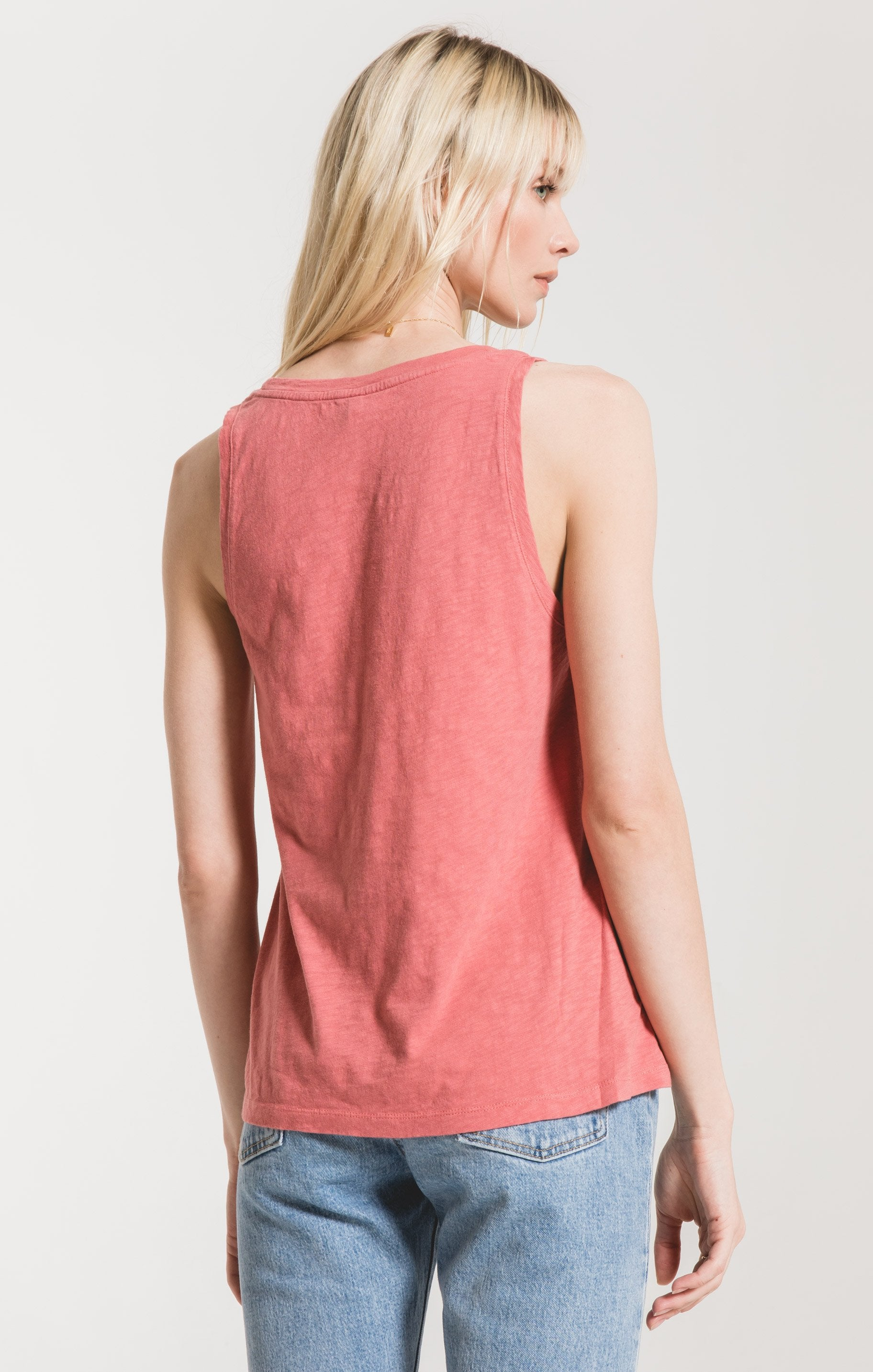 Tops Cotton Slub Scoop Tank Slate Rose
