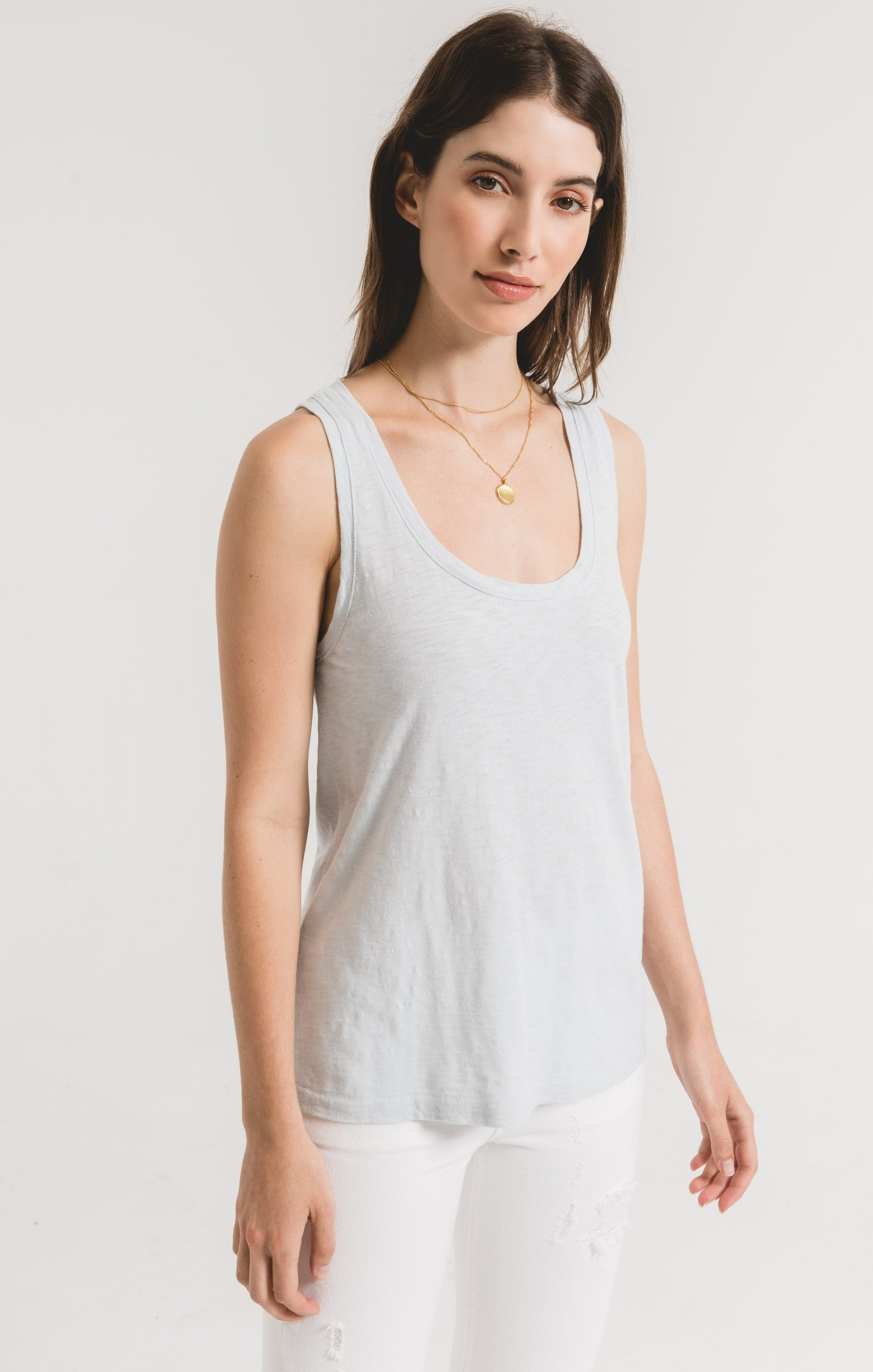Tops Cotton Slub Scoop Tank Oasis Blue