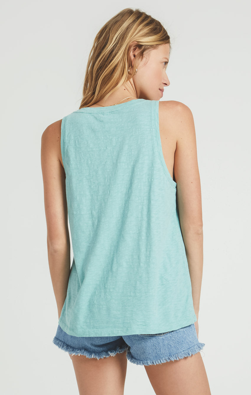 Tops Cotton Slub Scoop Tank Tile Blue