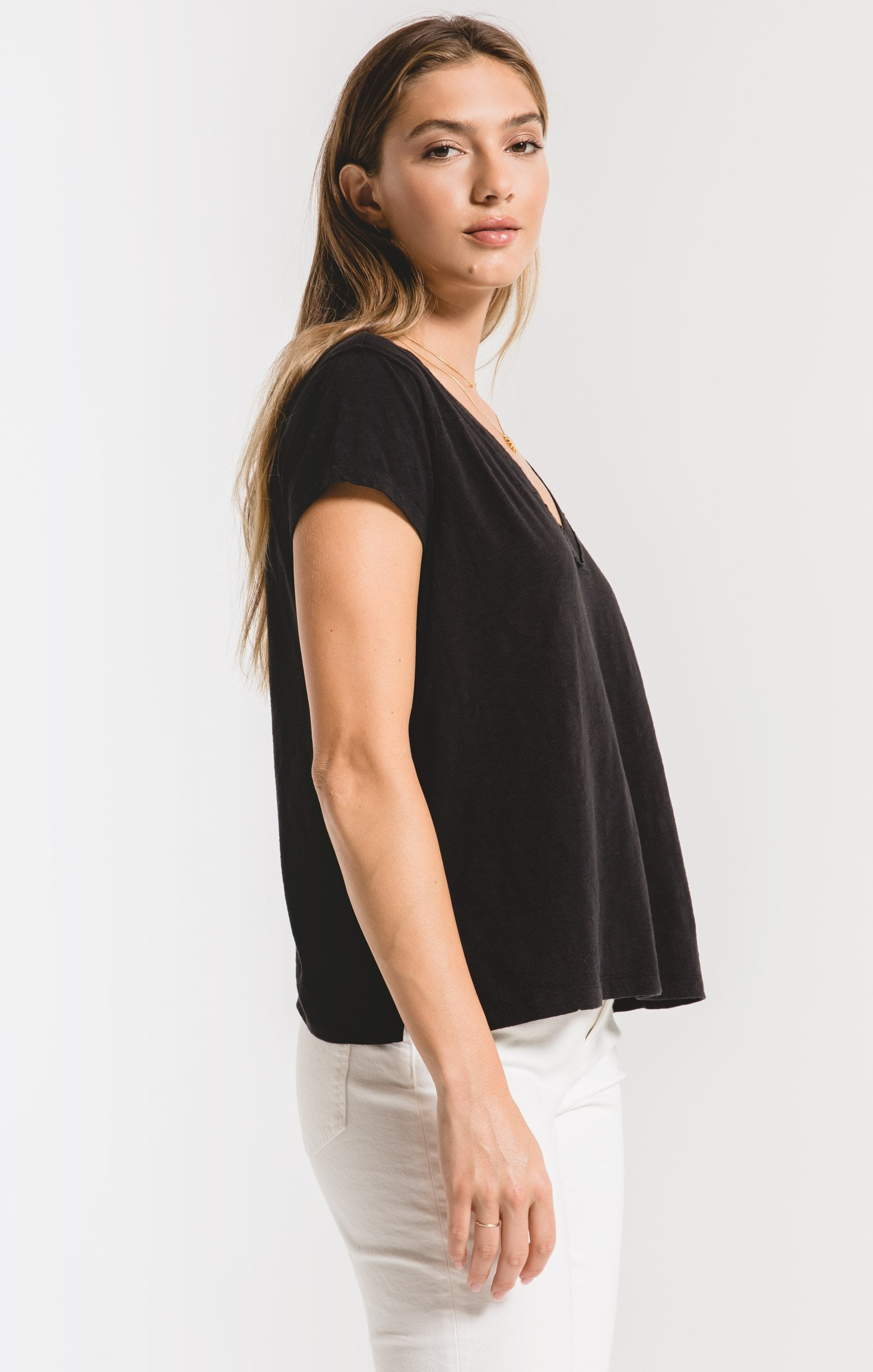 Tops Cotton Slub Easy V-Neck Tee Black