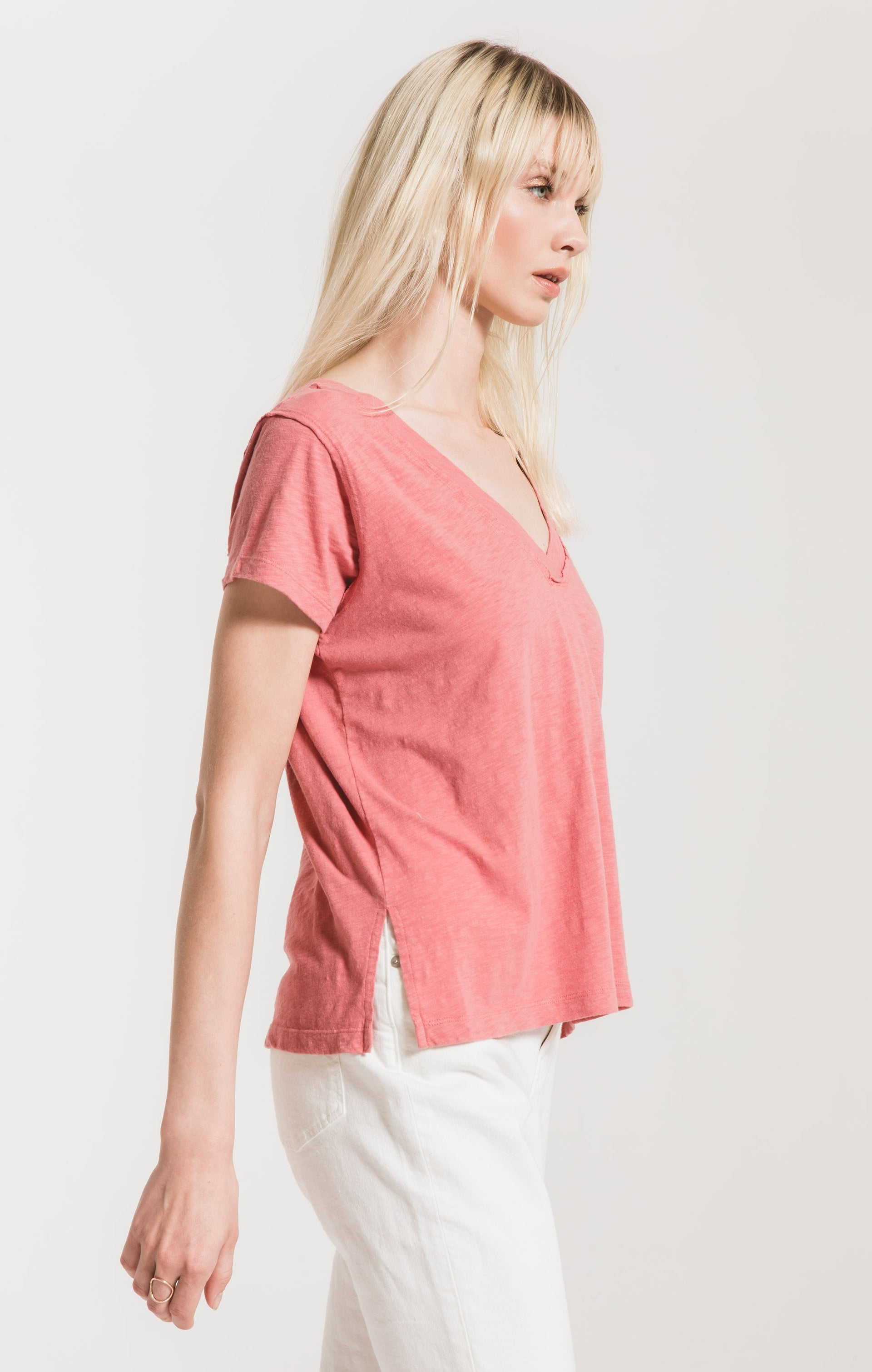 Tops Cotton Slub Easy V-Neck Tee Slate Rose