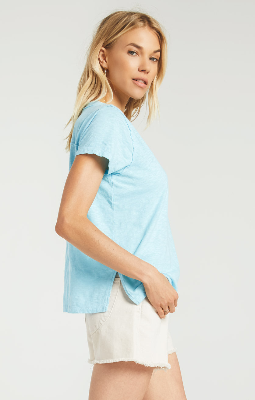 Tops Cotton Slub Easy V-Neck Tee Poolside Blue