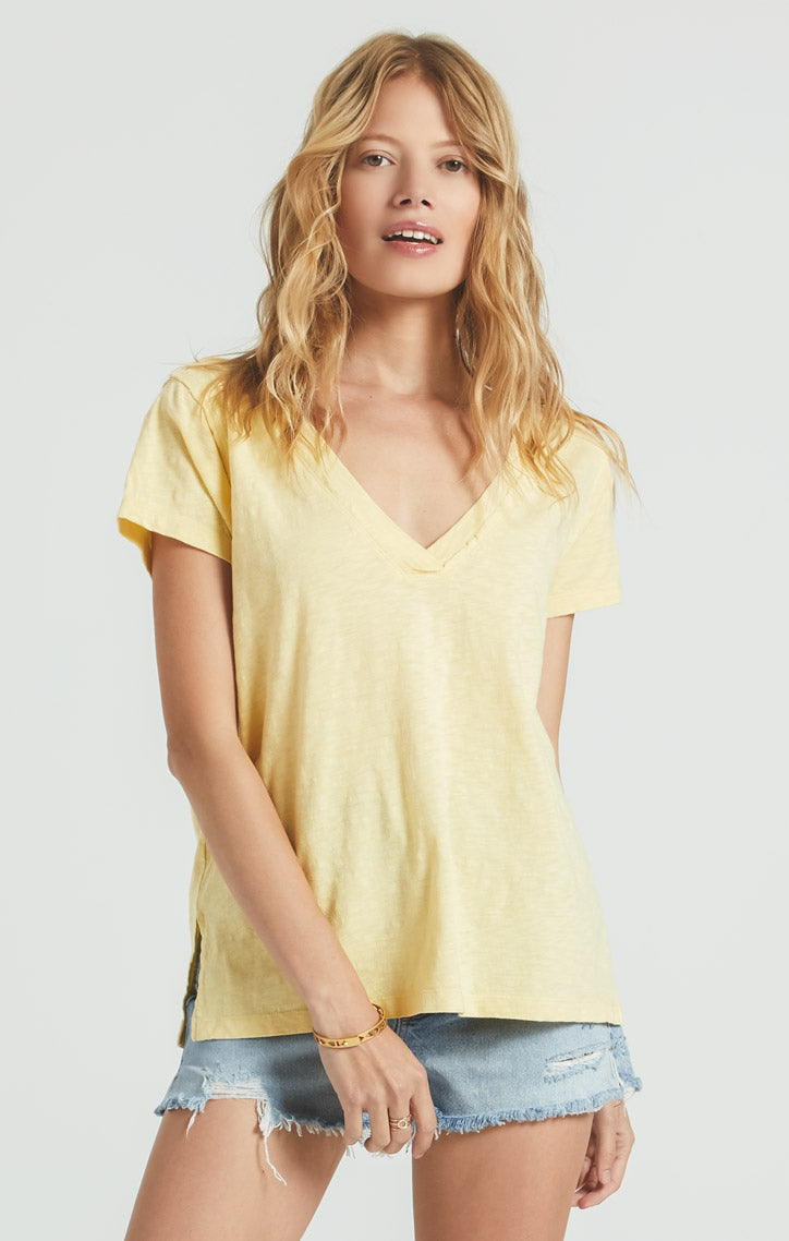 Tops Cotton Slub Easy V-Neck Tee Sunny Yellow