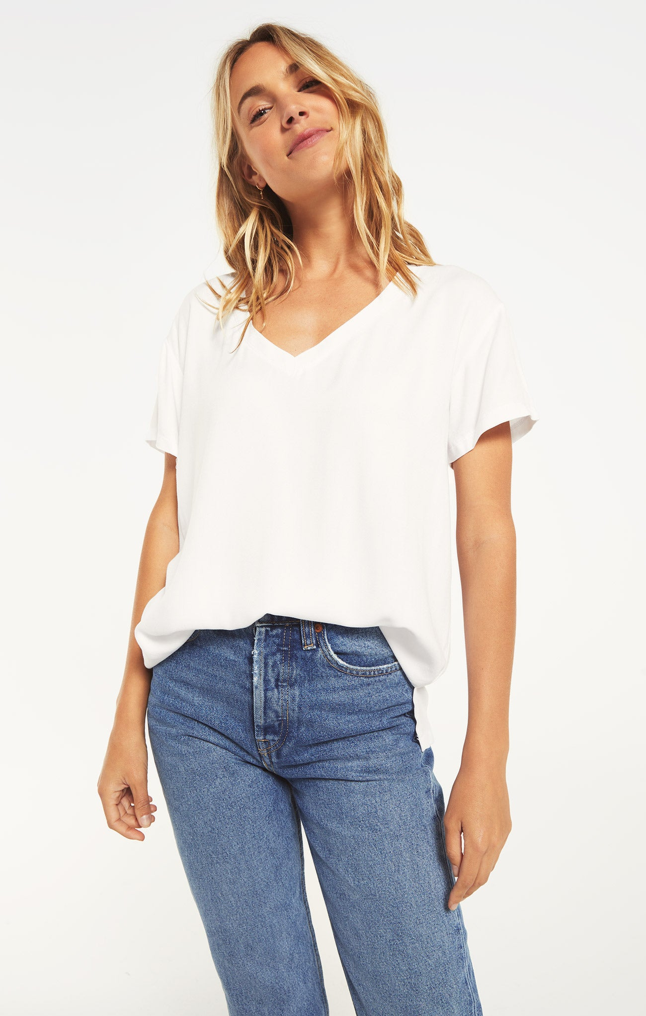 Tops Cotton Slub Easy V-Neck Tee White