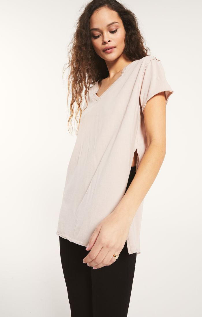 Tops Organic Cotton Side Slit Tunic Ash Pink