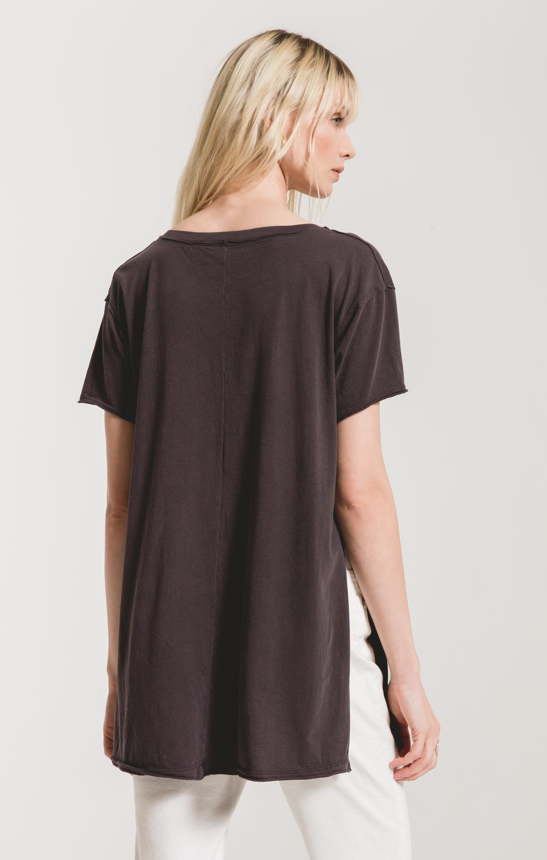 Tops Organic Cotton Side Slit Tunic Graphite