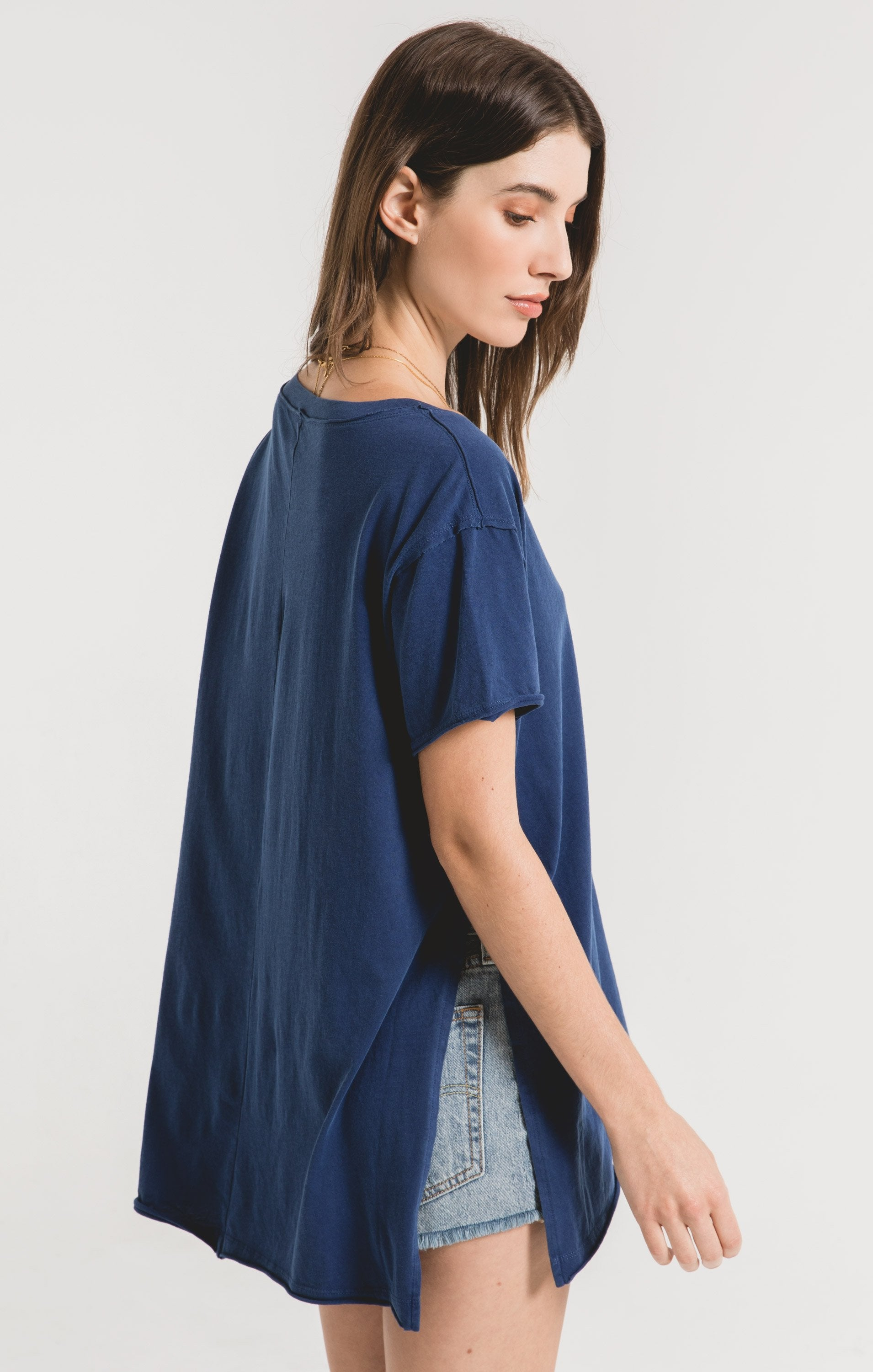 Tops Organic Cotton Side Slit Tunic Indigo Blue
