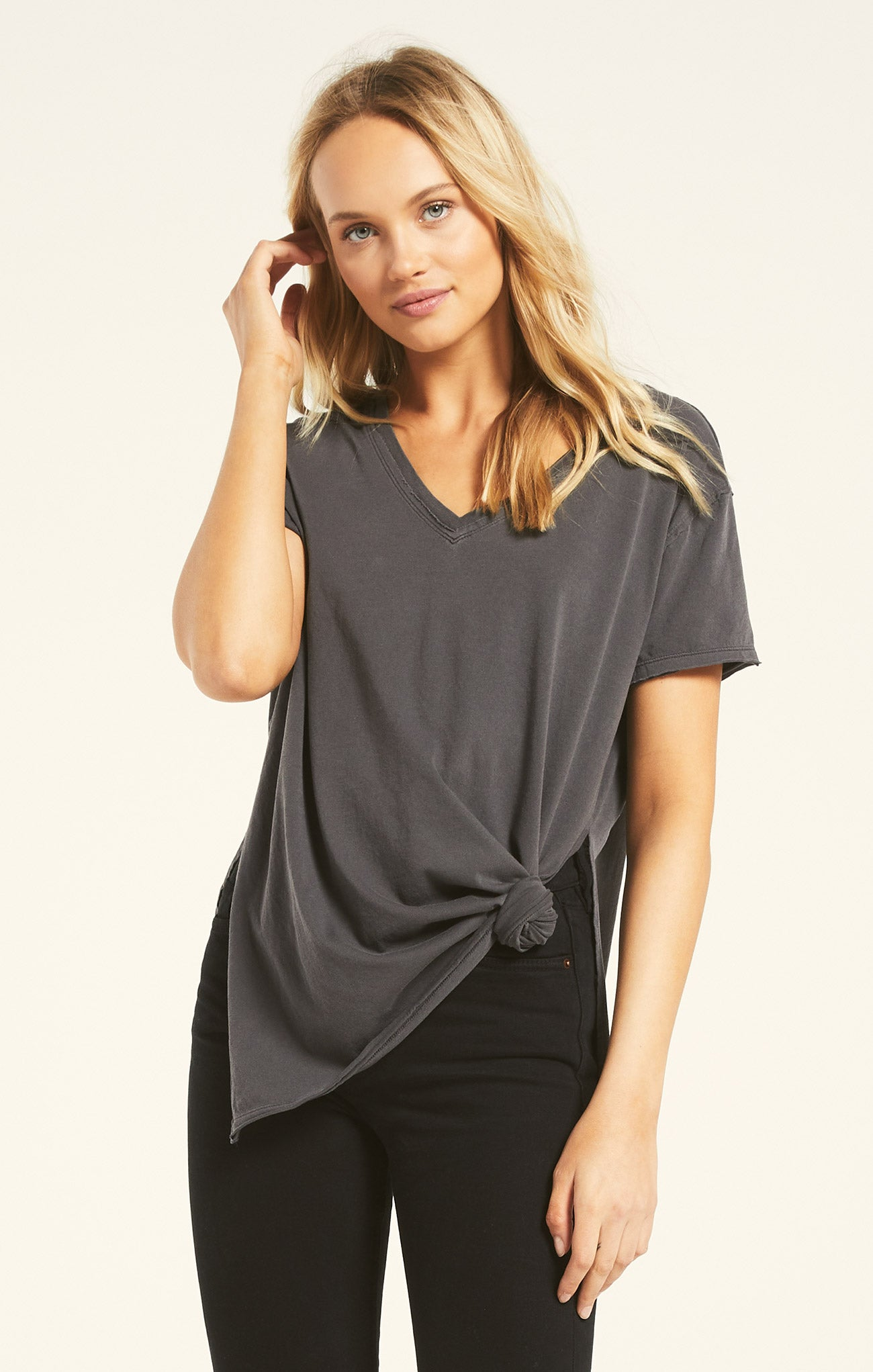 Tops Organic Cotton Side Slit Tunic Washed Grey