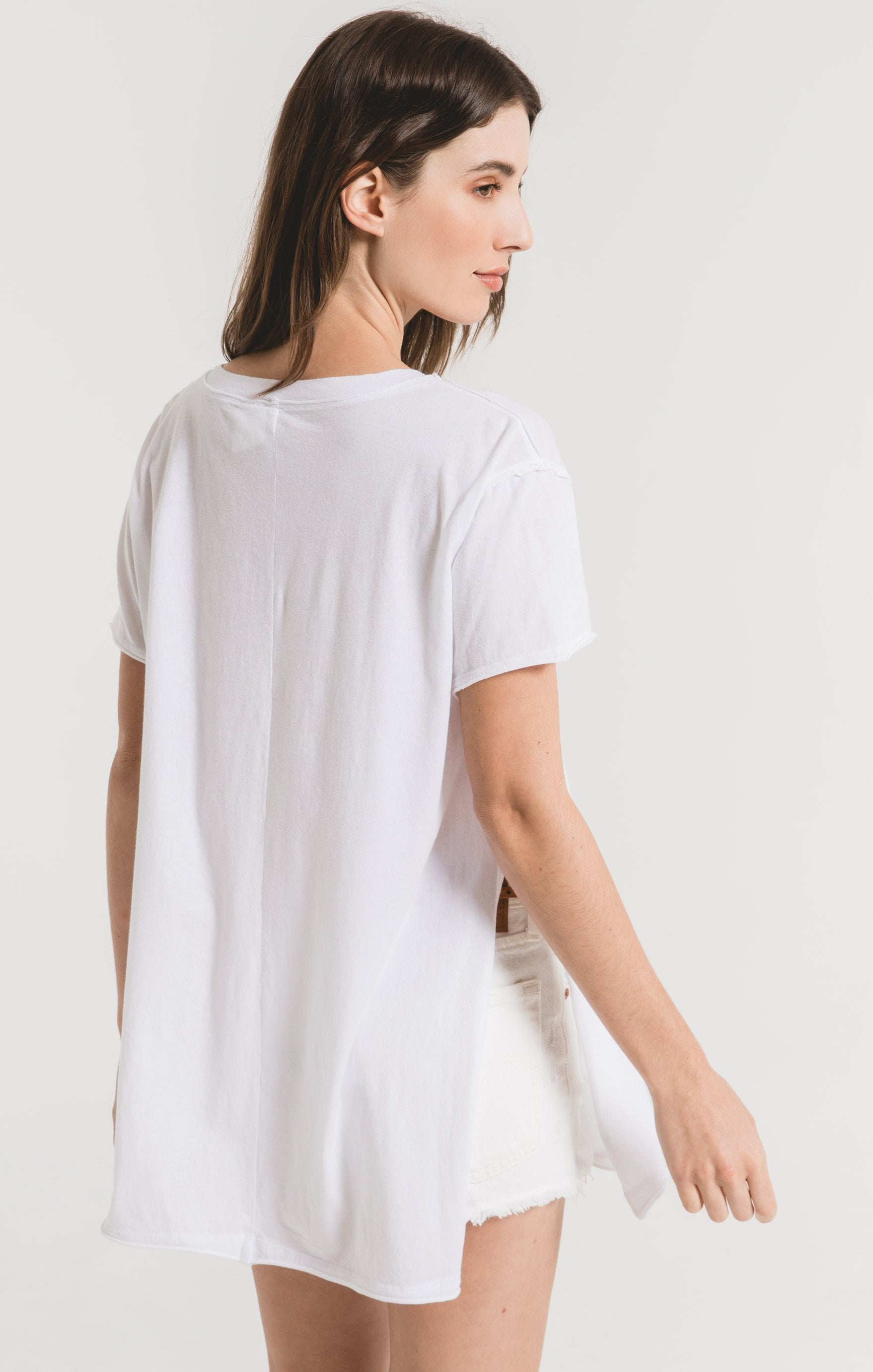Tops Organic Cotton Side Slit Tunic White