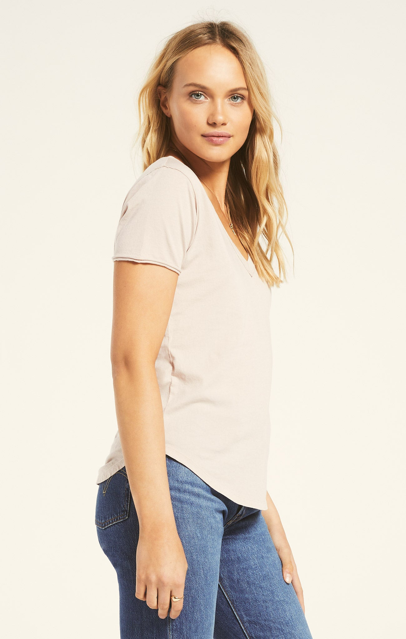 Tops Organic Cotton V-Neck Tee Ash Pink
