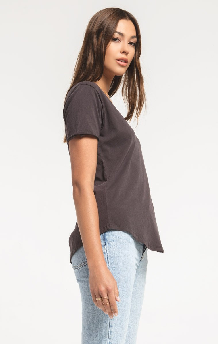 Tops Organic Cotton V-Neck Tee Graphite