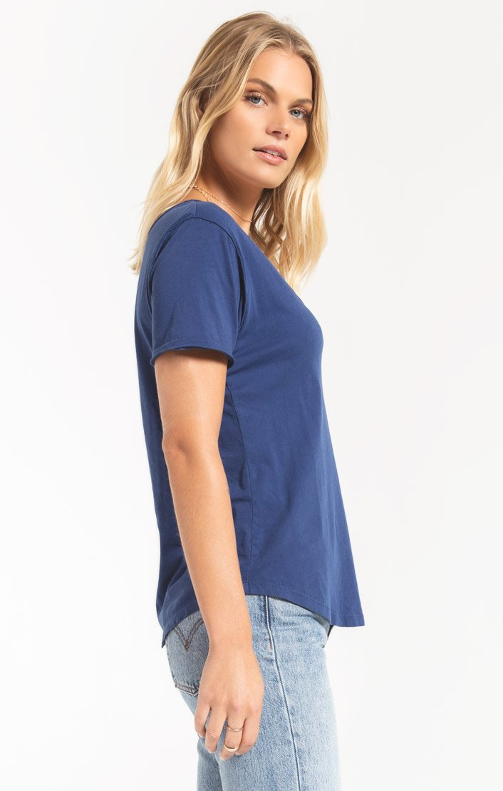 Tops Organic Cotton V-Neck Tee Indigo Blue