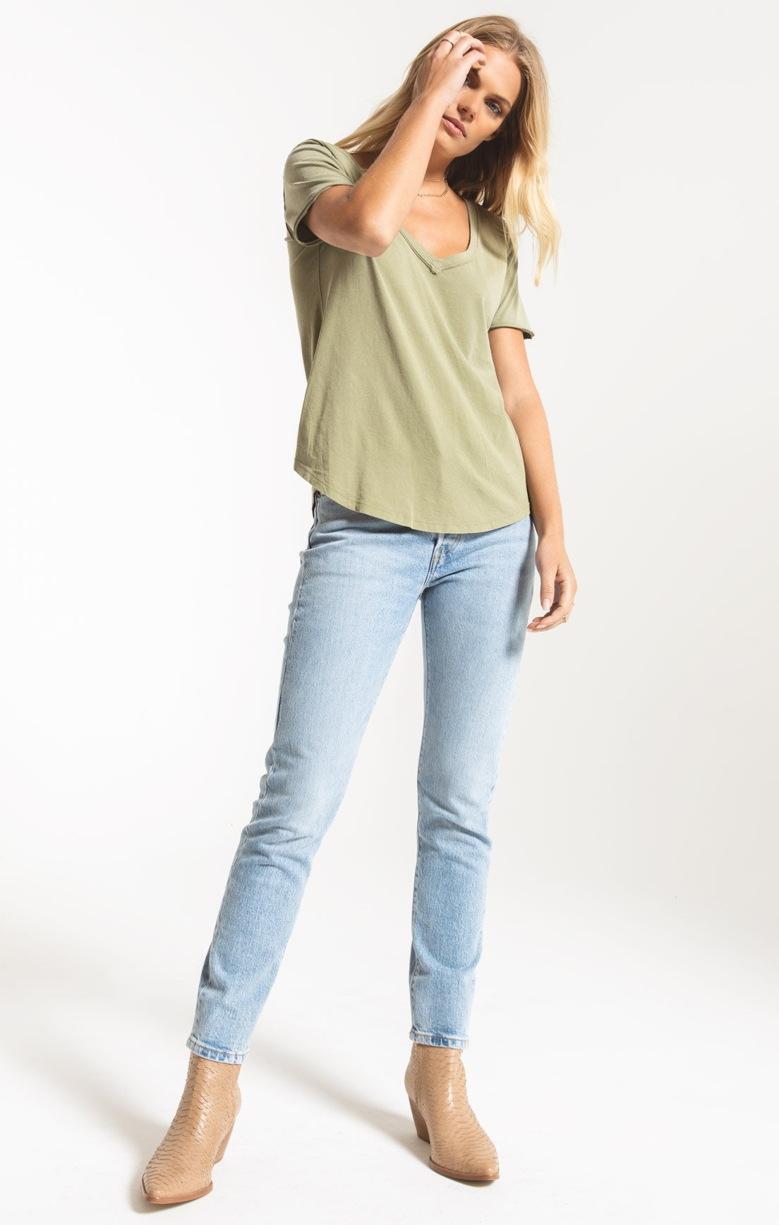 Tops Organic Cotton V-Neck Tee Light Sage