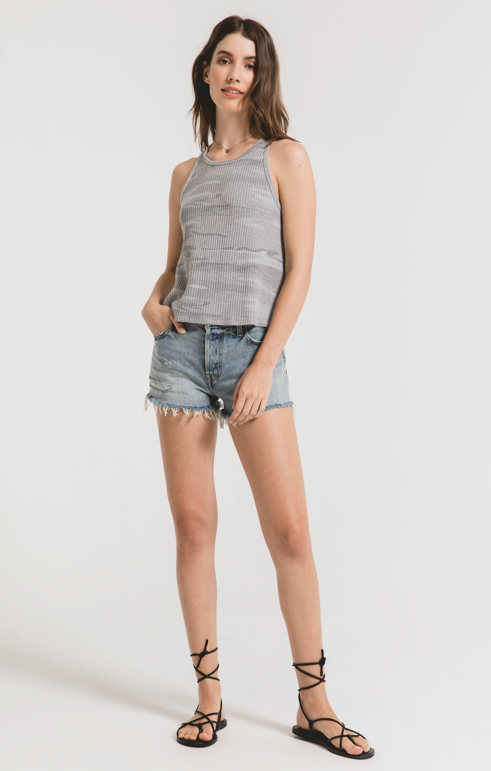 Tops Thermal Camo Skimmer Tank Camo Heather Grey
