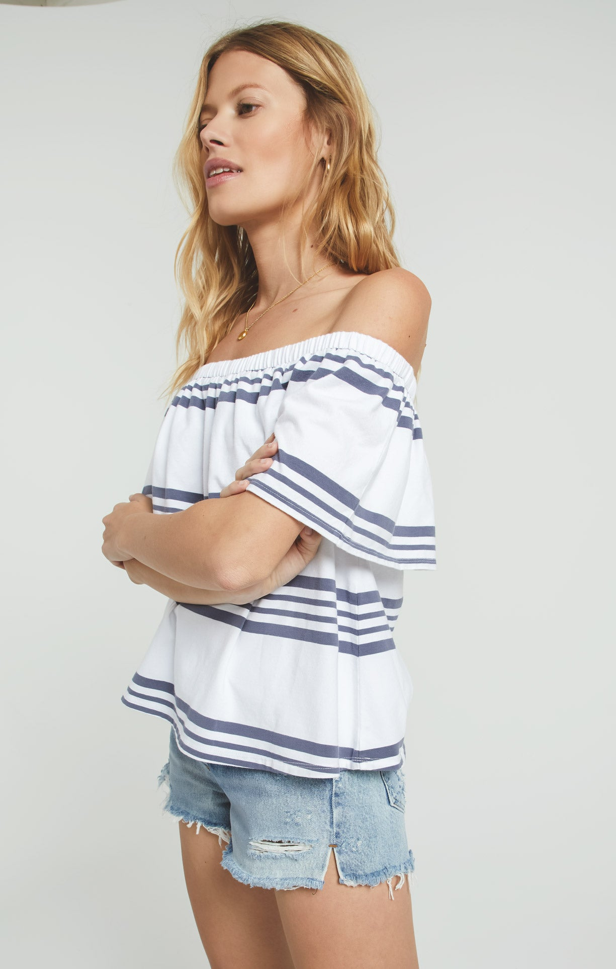 Tops Avalon Stripe Top Jet Set Grey