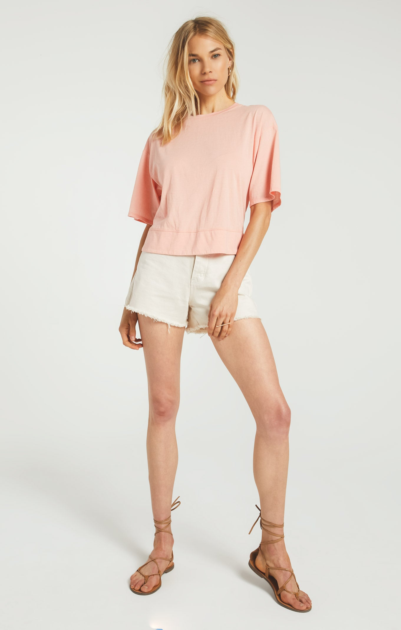 Tops Ani Tie Back Tee Coral Almond