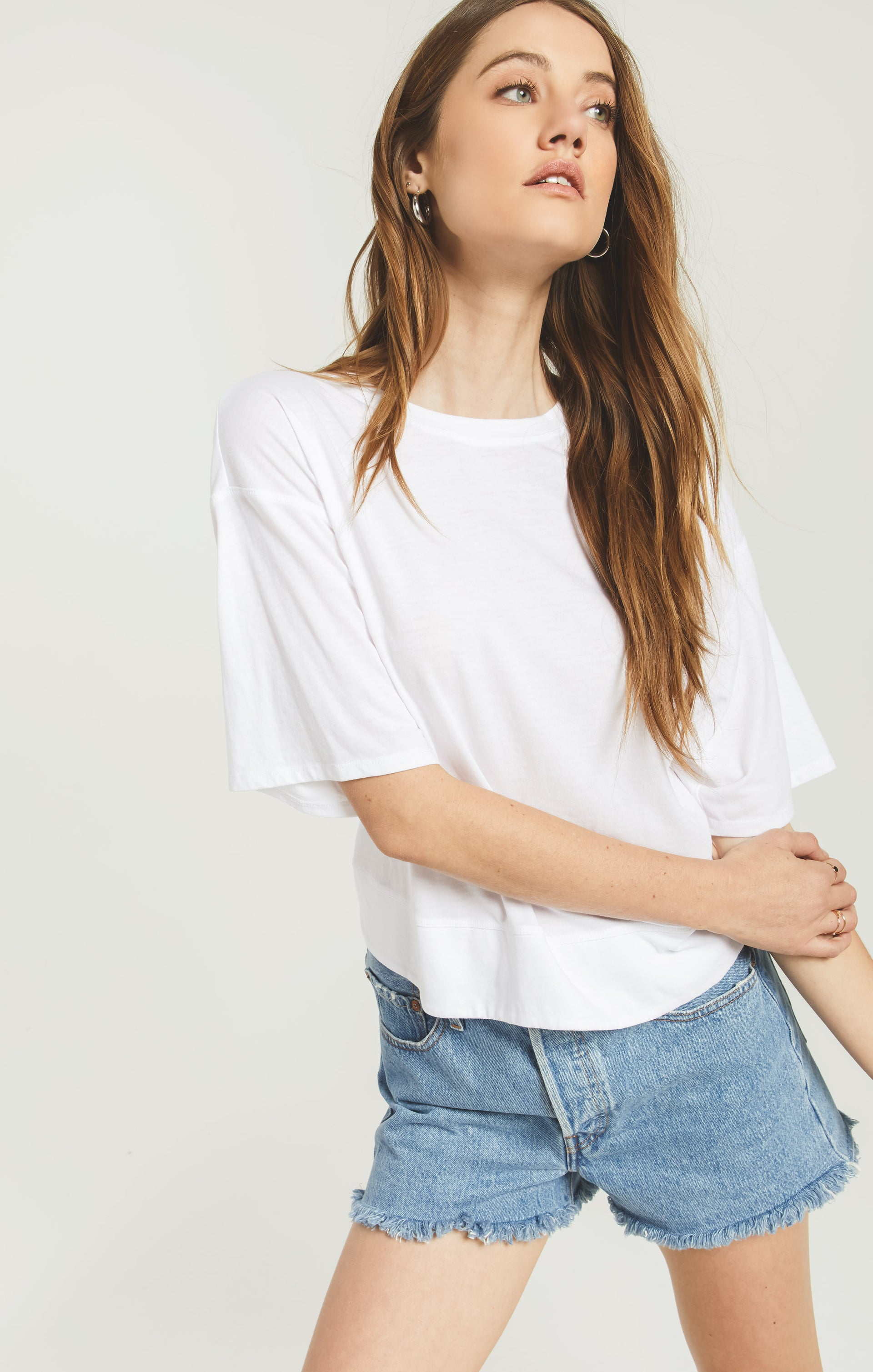 Tops Ani Tie Back Tee White