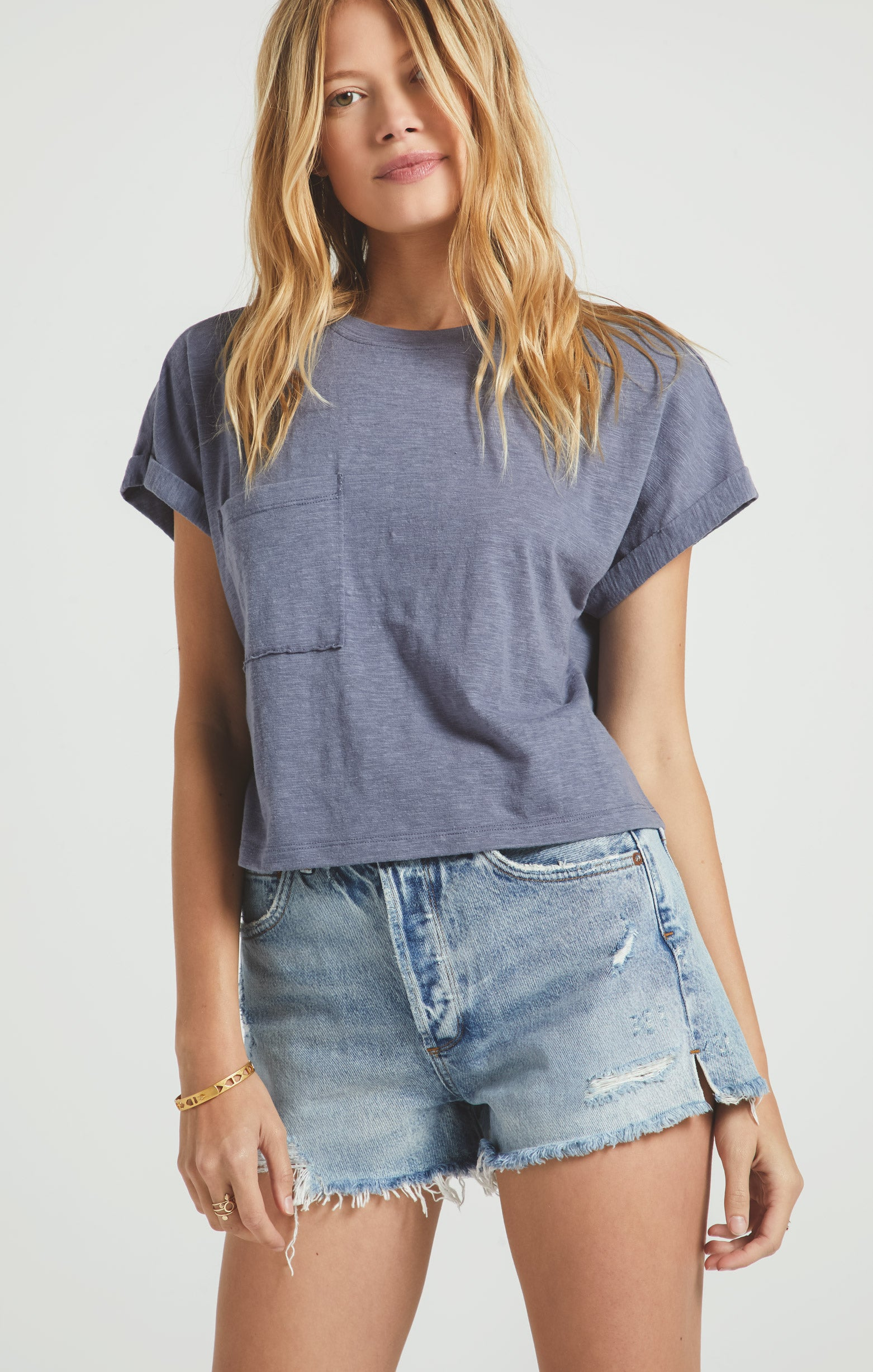 Tops Keely Slub Crew Jet Set Grey