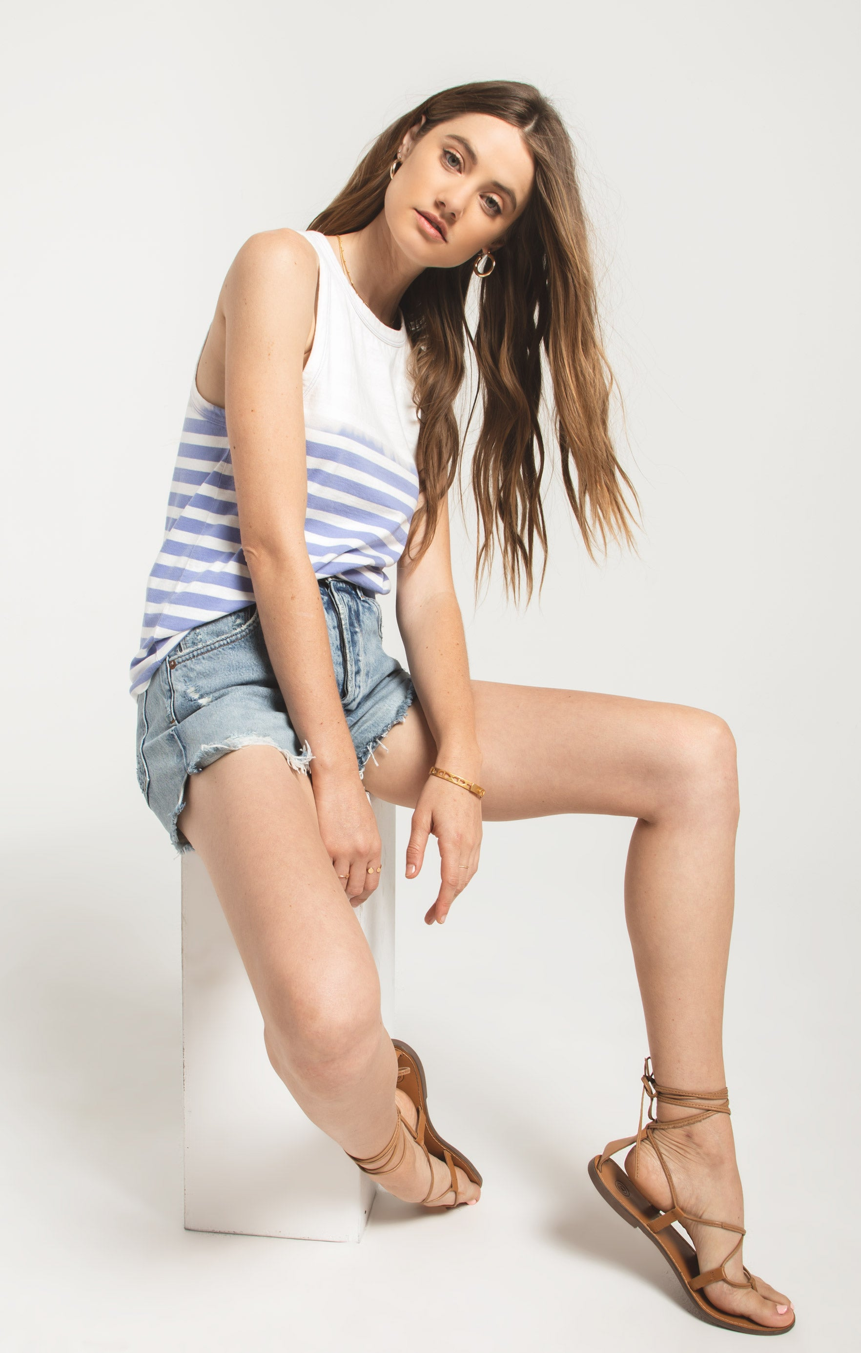 Tops Sia Sun Stripe Tank Washed Indigo