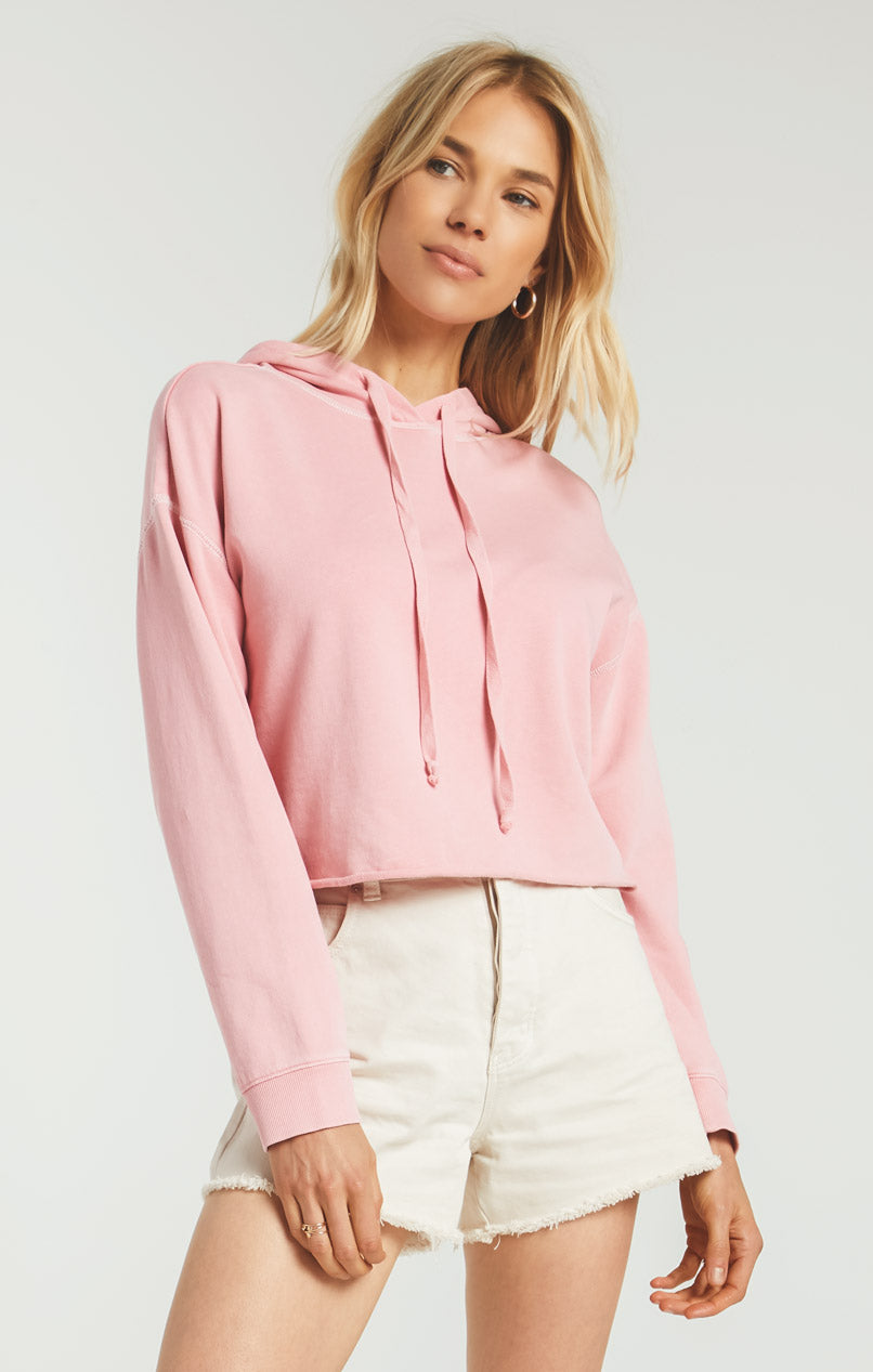 Tops Gia Washed Hoodie Pink Sorbet
