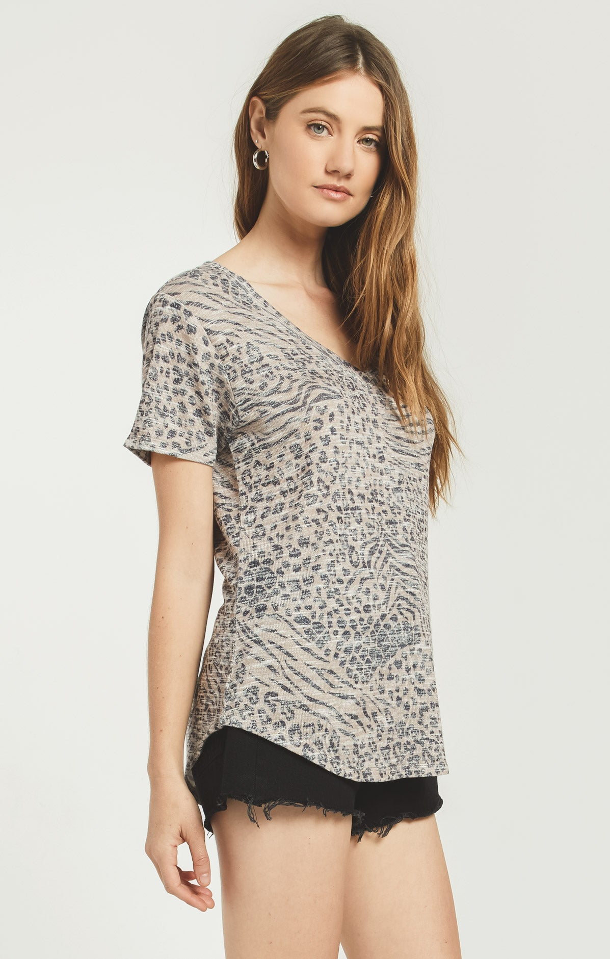 Tops Ridley Animal Tee Sand